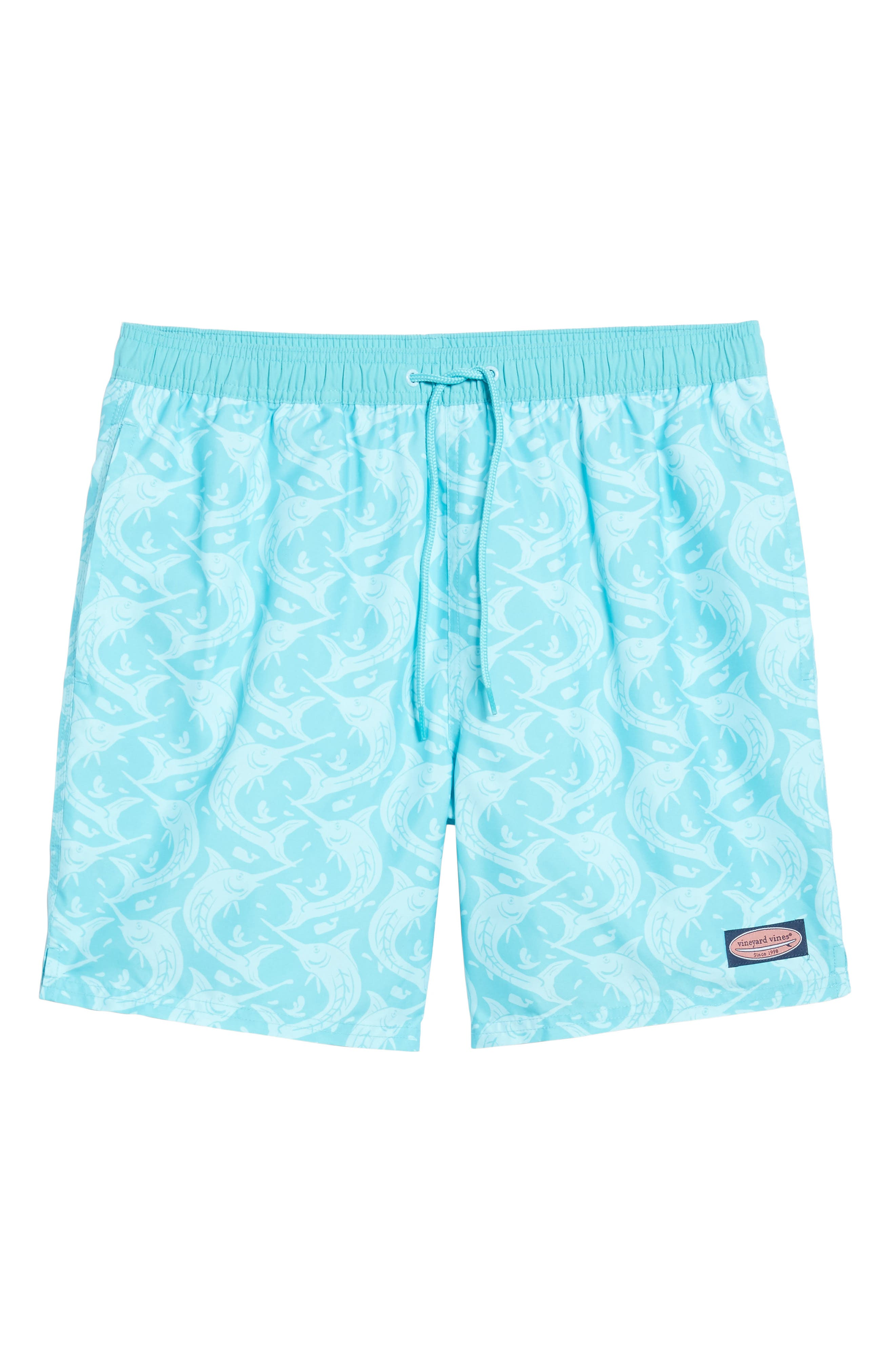 Marlin Out of Water Chappy Swim Trunks,                             Alternate thumbnail 6, color,                             Turquoise