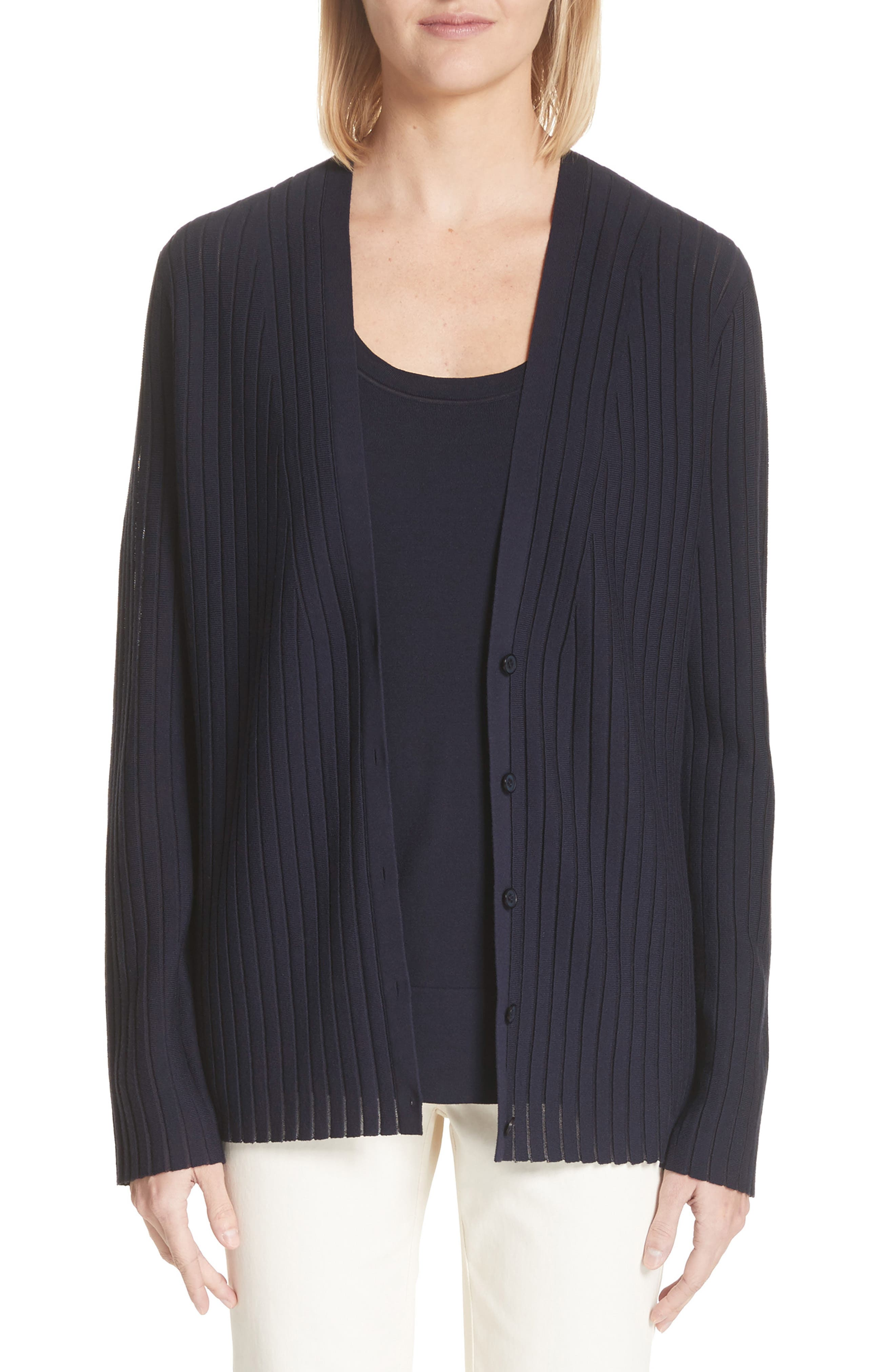 Matte Crepe Solid & Sheer Cardigan,                             Main thumbnail 1, color,                             Ink