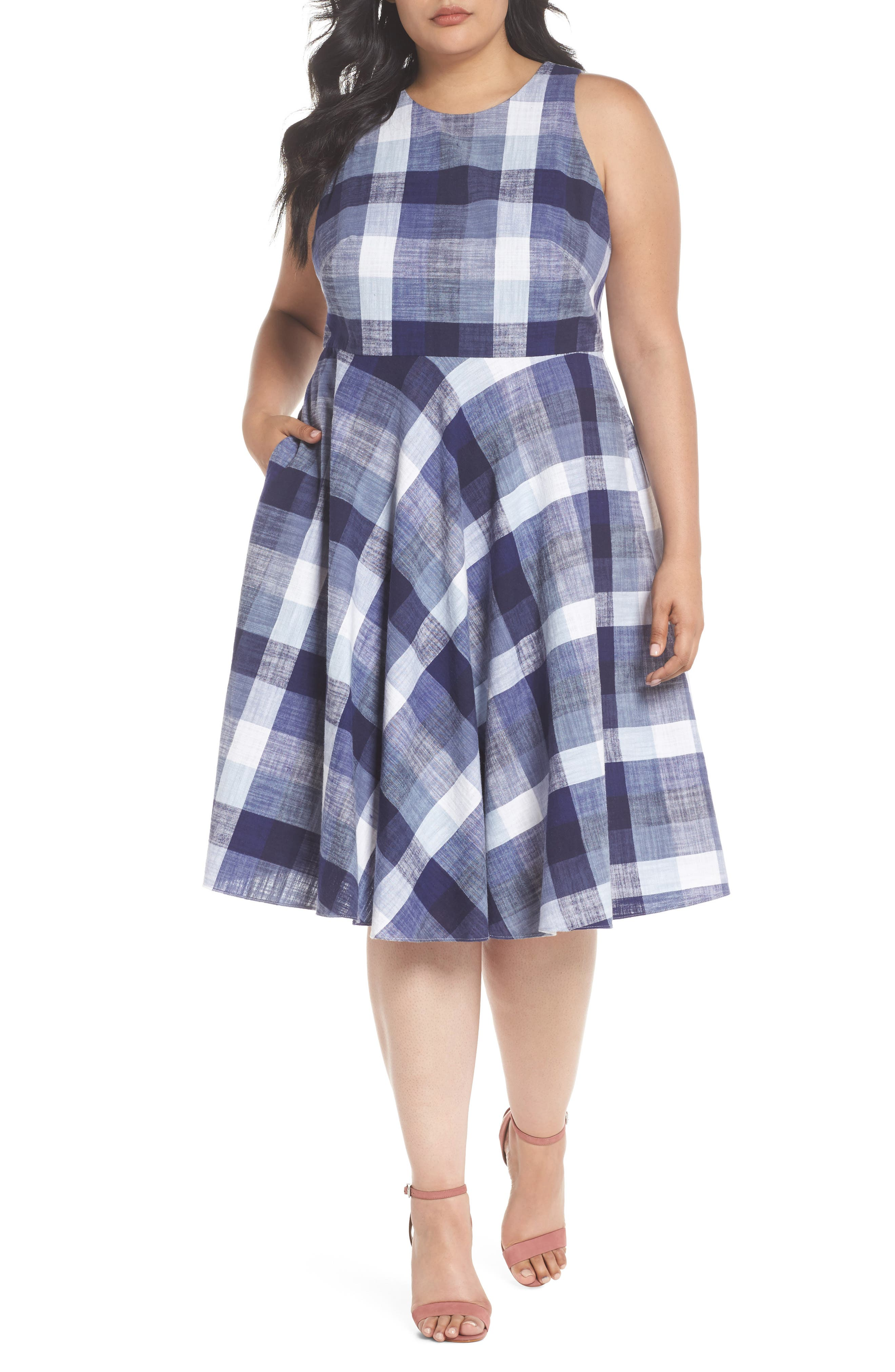 Check Fit & Flare Dress,                         Main,                         color, Navy