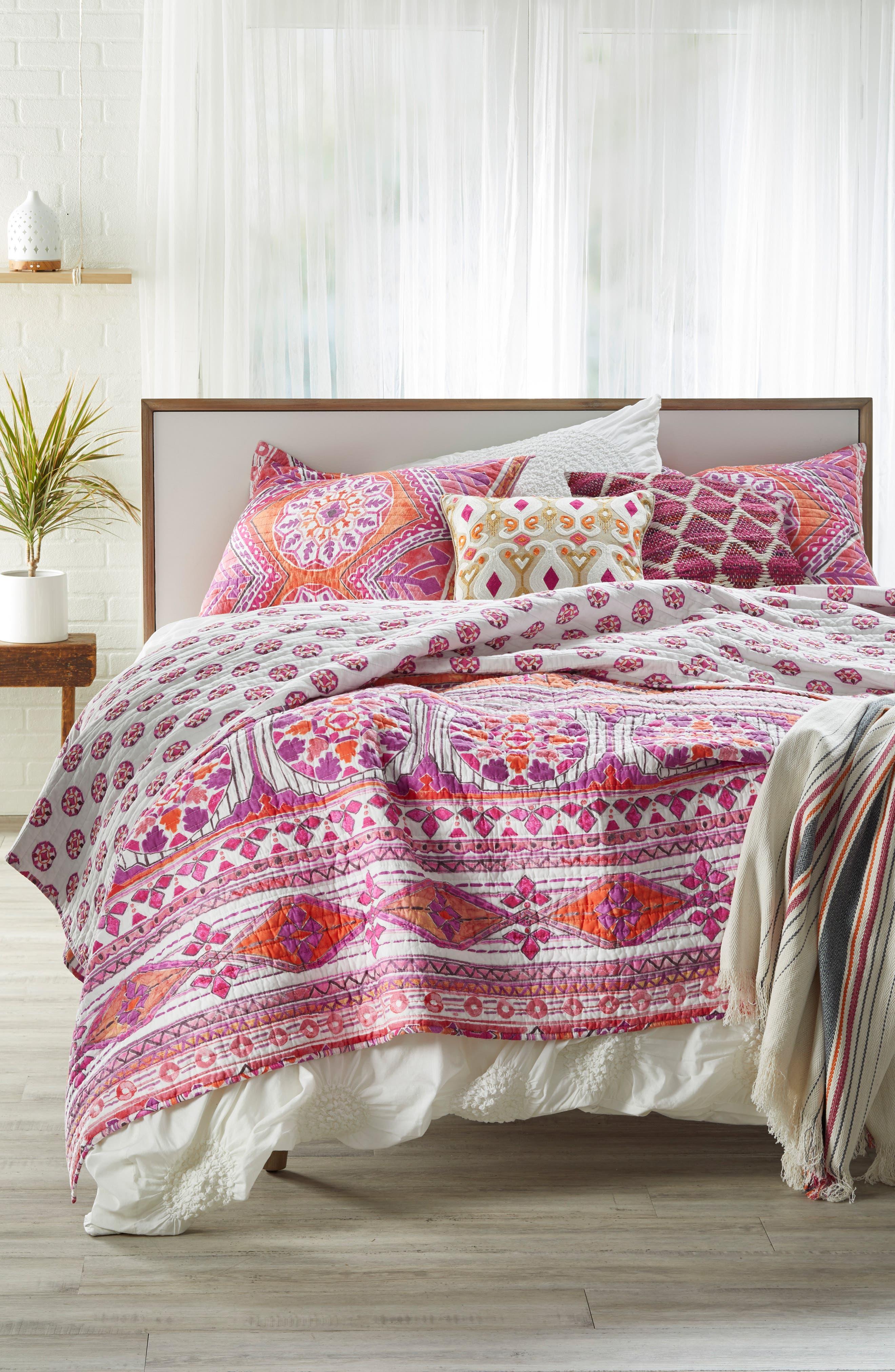 Diamond Chindi Accent Pillow,                             Alternate thumbnail 4, color,                             Hot Pink