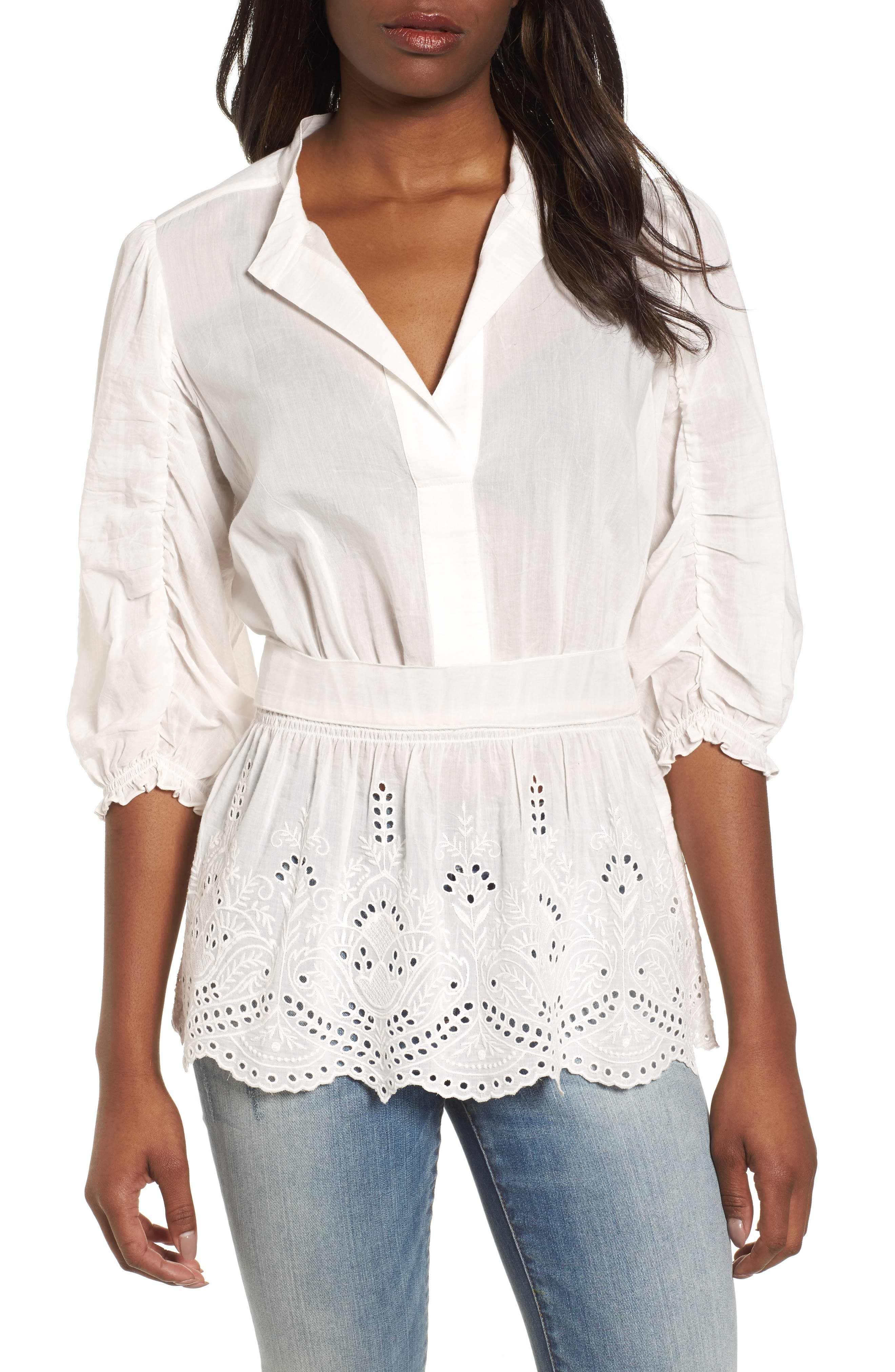 Eyelet Detail Tunic,                         Main,                         color, Lucky White