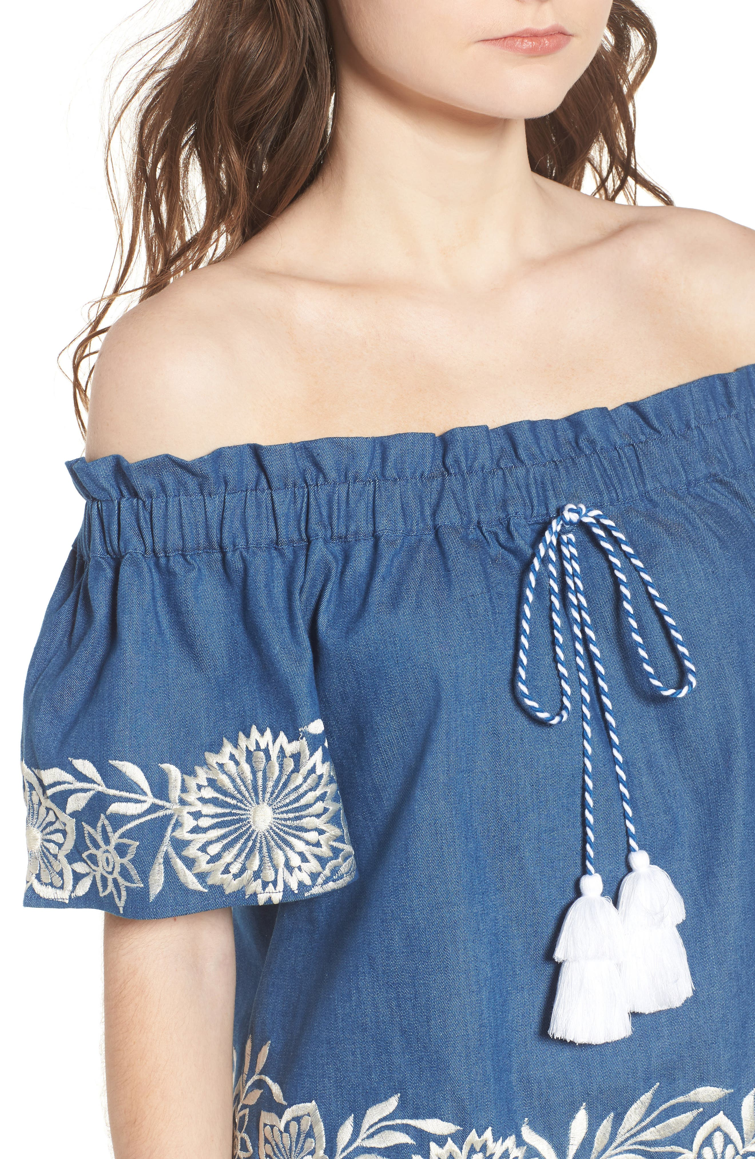 Nisi Embroidered Off the Shoulder Top,                             Alternate thumbnail 4, color,                             Blue