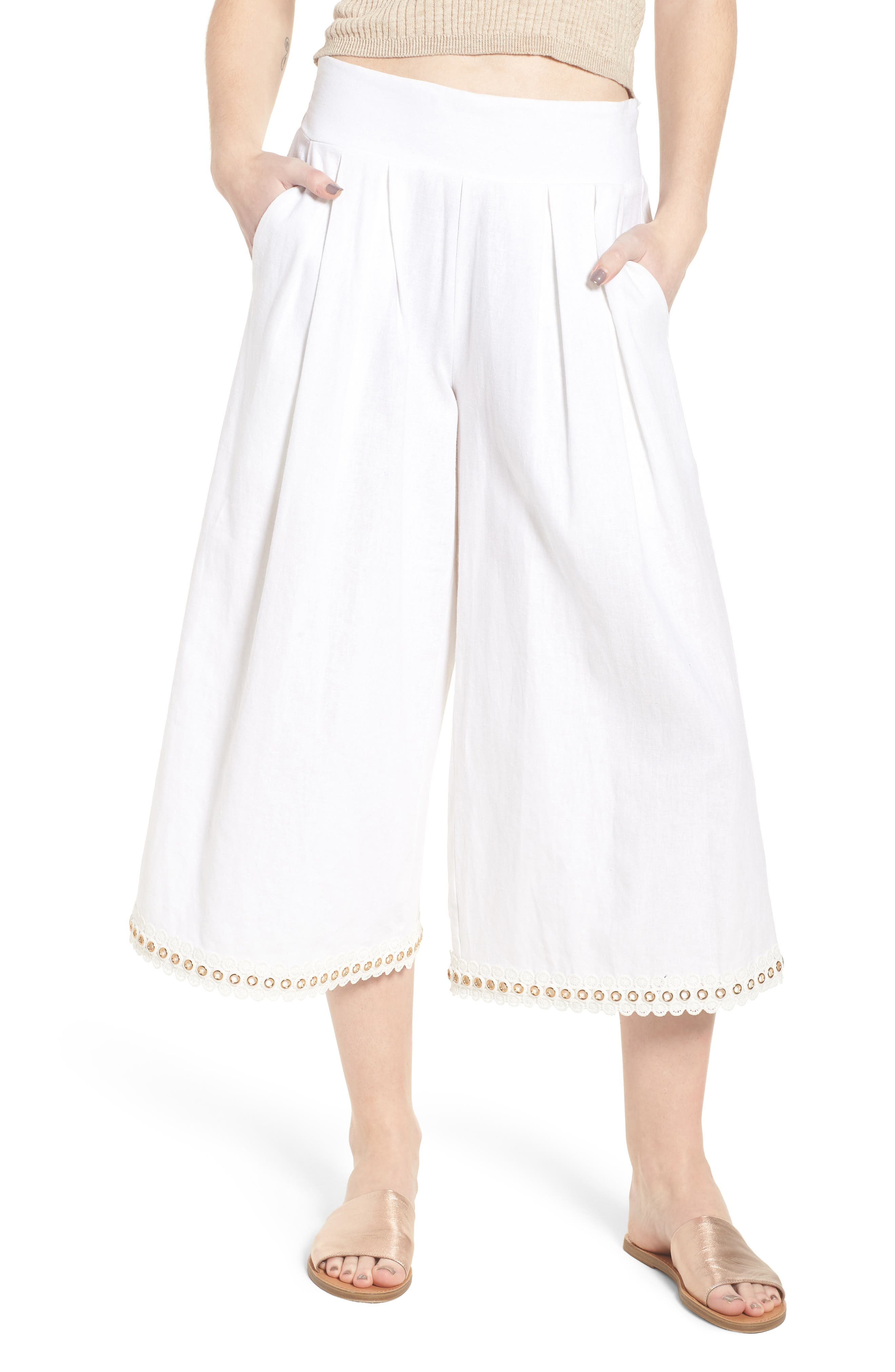 Imara Linen Blend Pants,                         Main,                         color, White