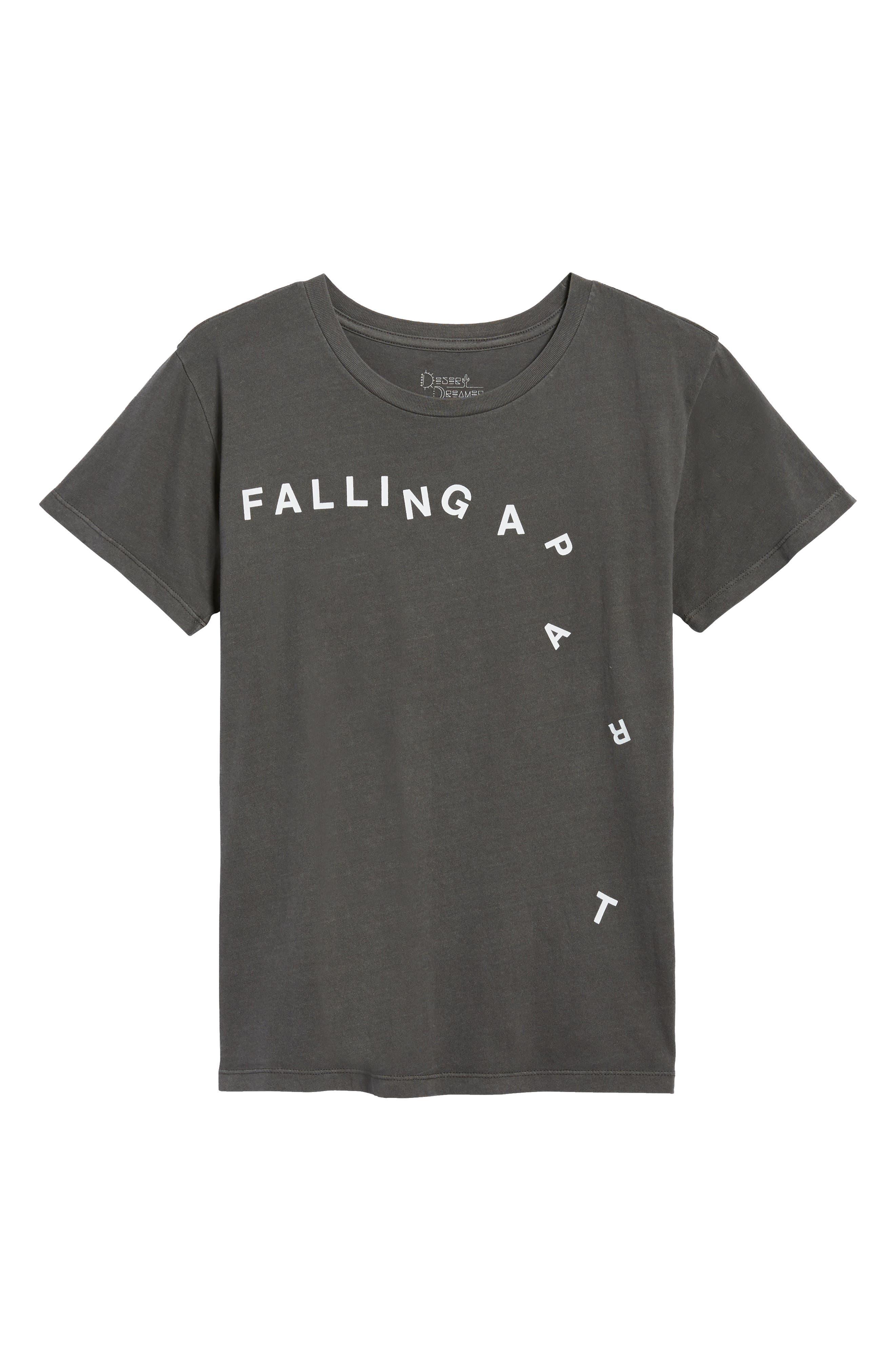 Falling Apart Boyfriend Tee,                             Alternate thumbnail 8, color,                             Washed Black