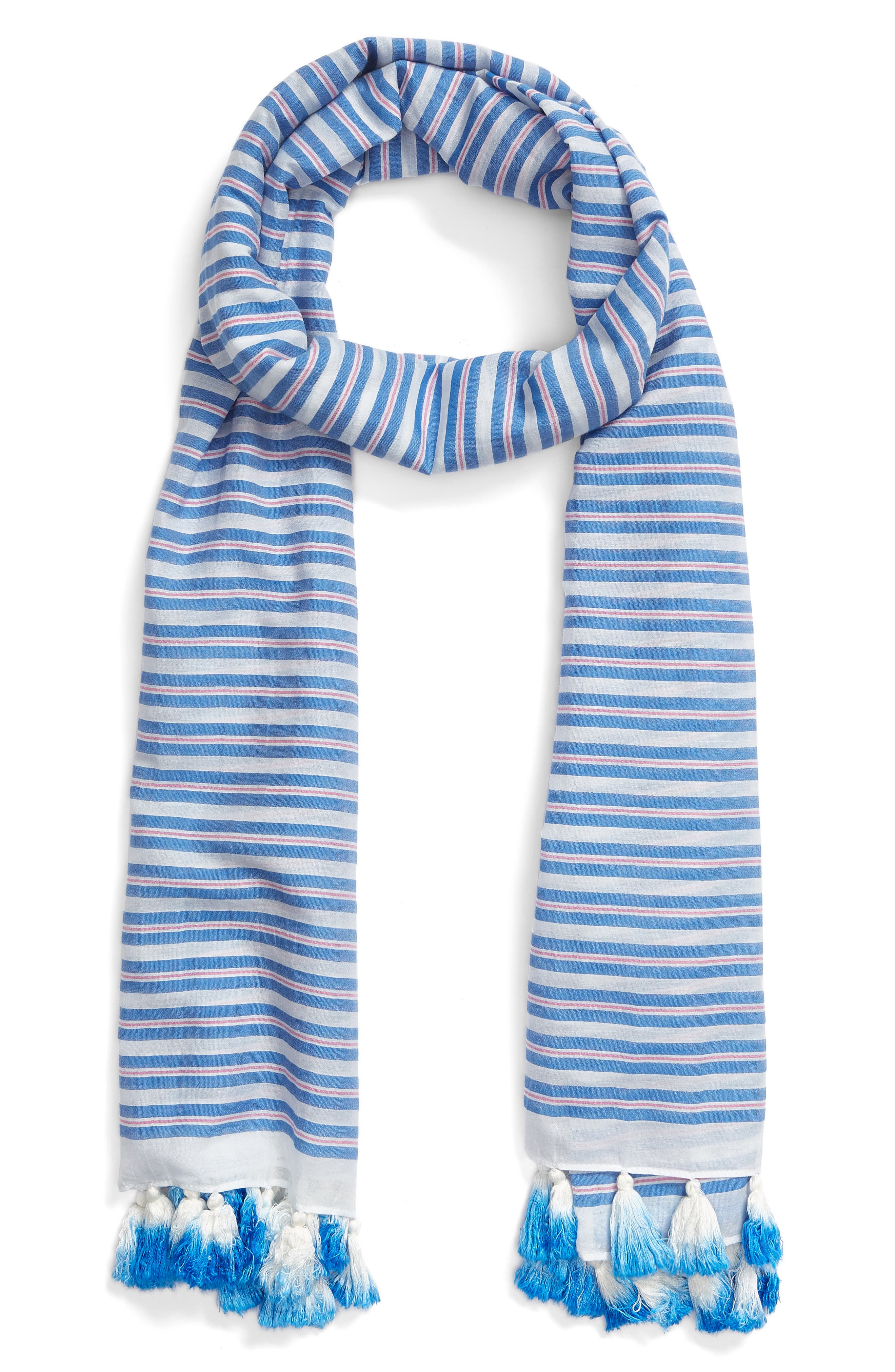 candy stripe cotton & silk scarf,                             Alternate thumbnail 2, color,                             Deep End Blue