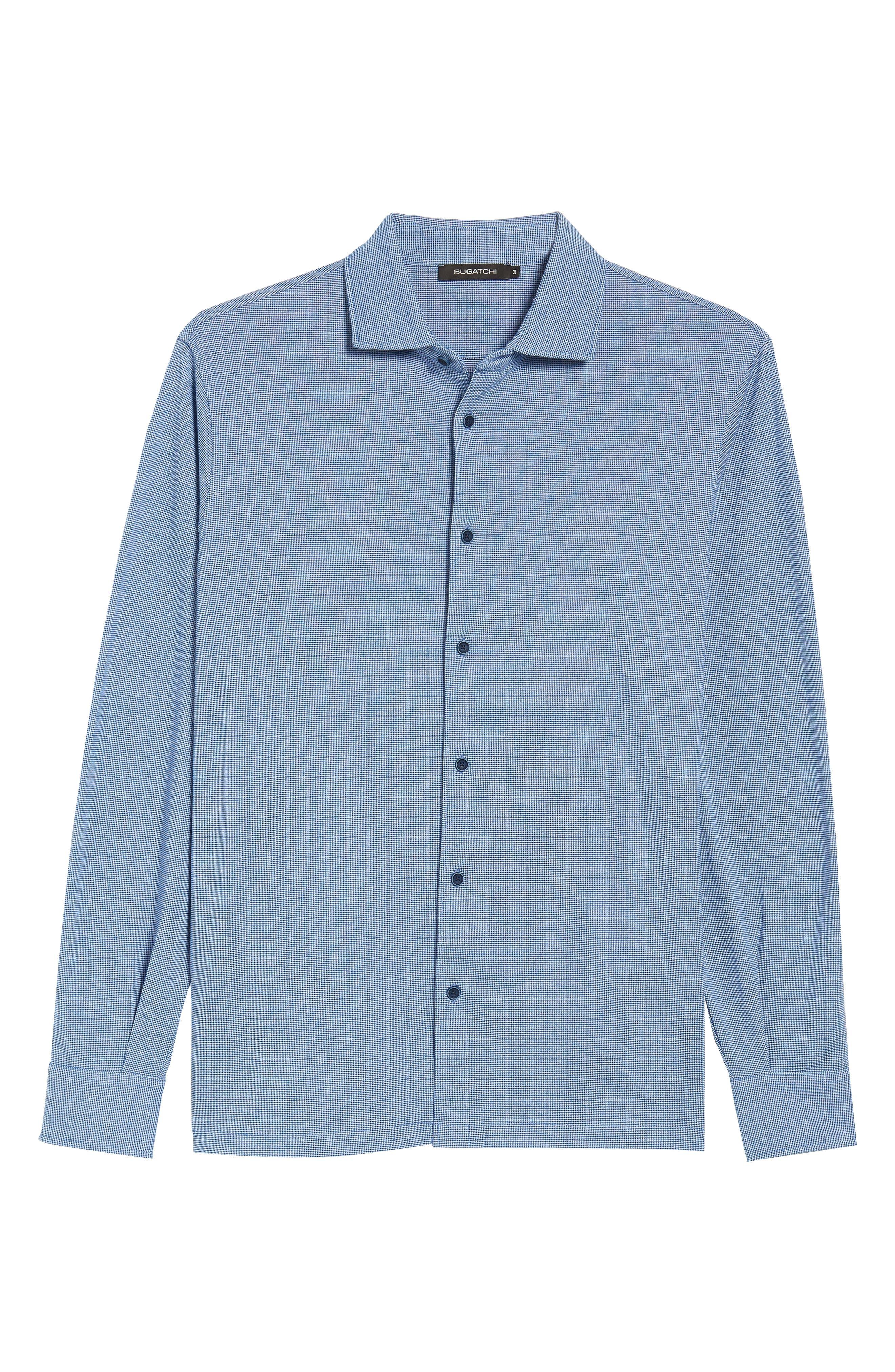 Regular Fit Piqué Cotton Sport Shirt,                             Alternate thumbnail 6, color,                             Navy