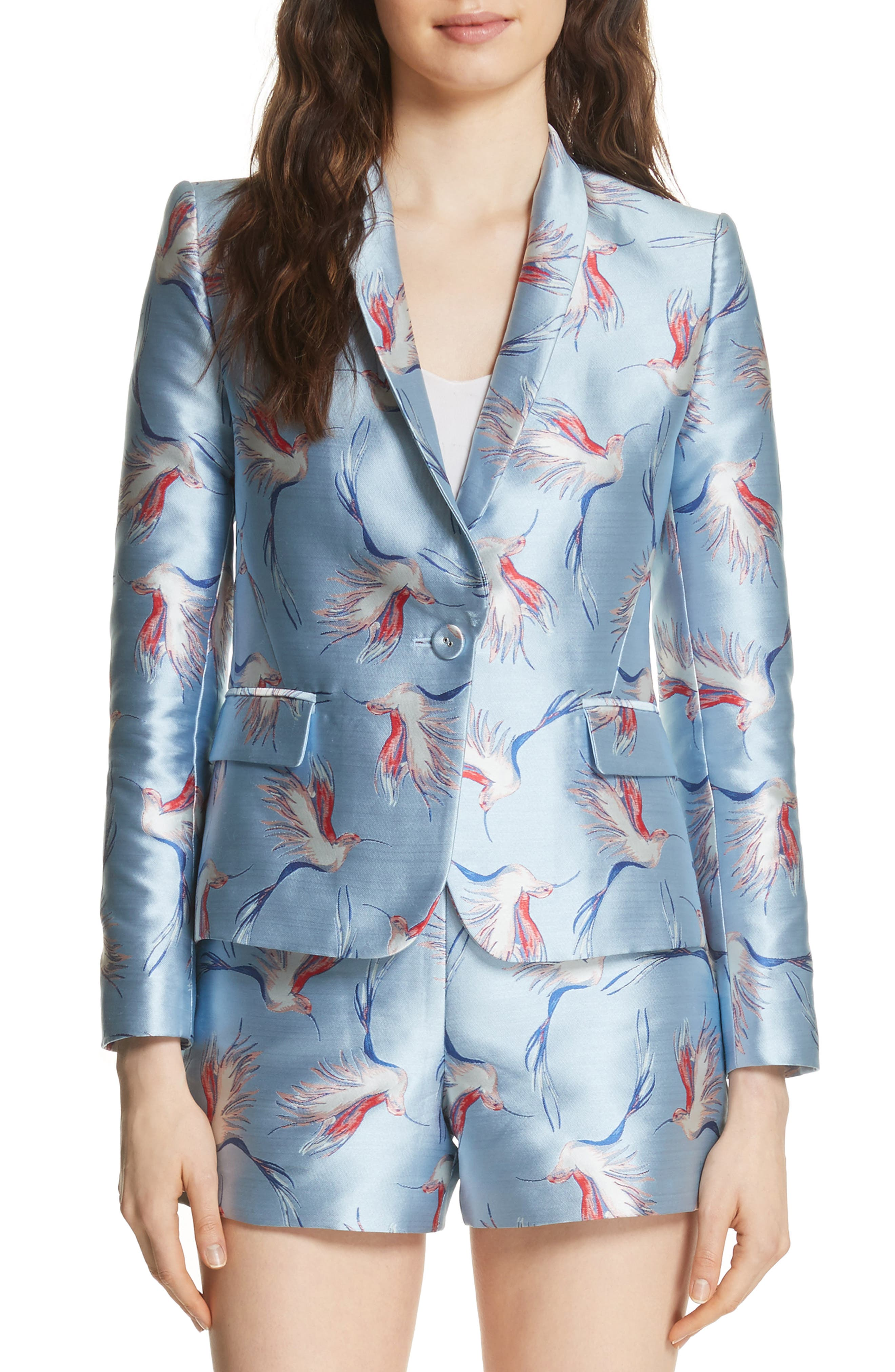 Macey Bird Print Jacket,                         Main,                         color, Dusty Aqua/ Multi