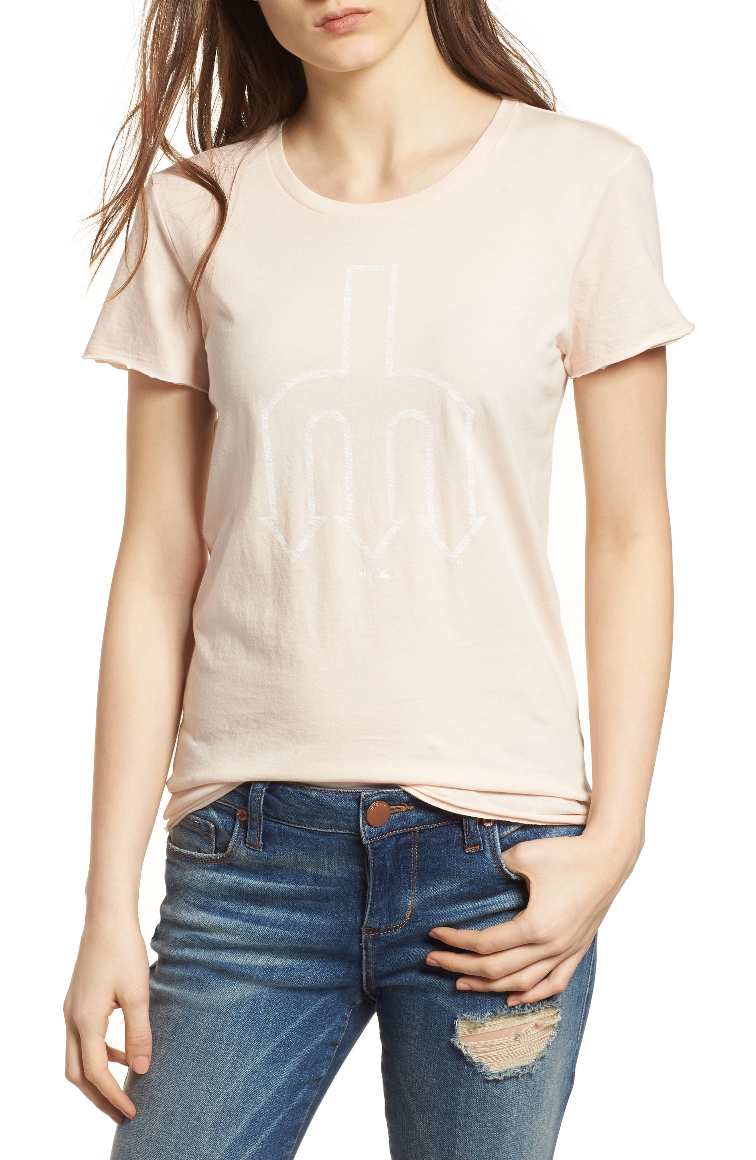 Seattle Mariners Fader Letter Tee,                         Main,                         color, Blush