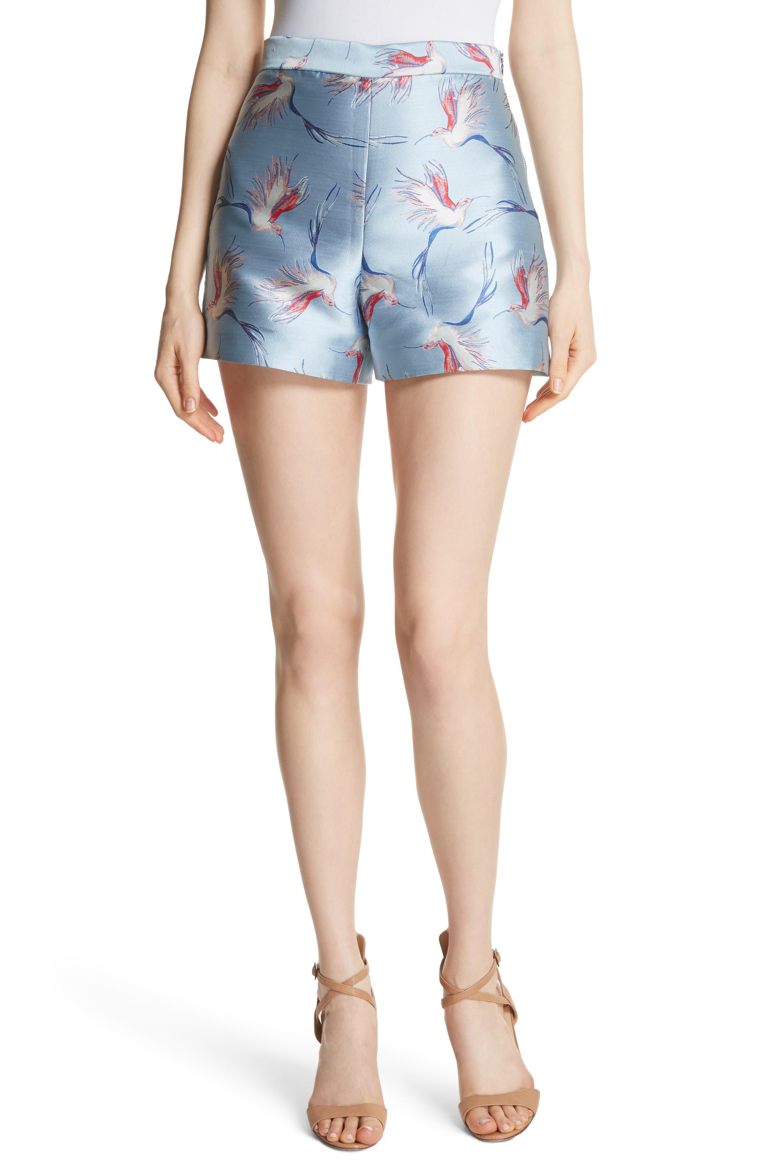 Heath Bird Print Shorts,                         Main,                         color, Dusty Aqua/ Multi