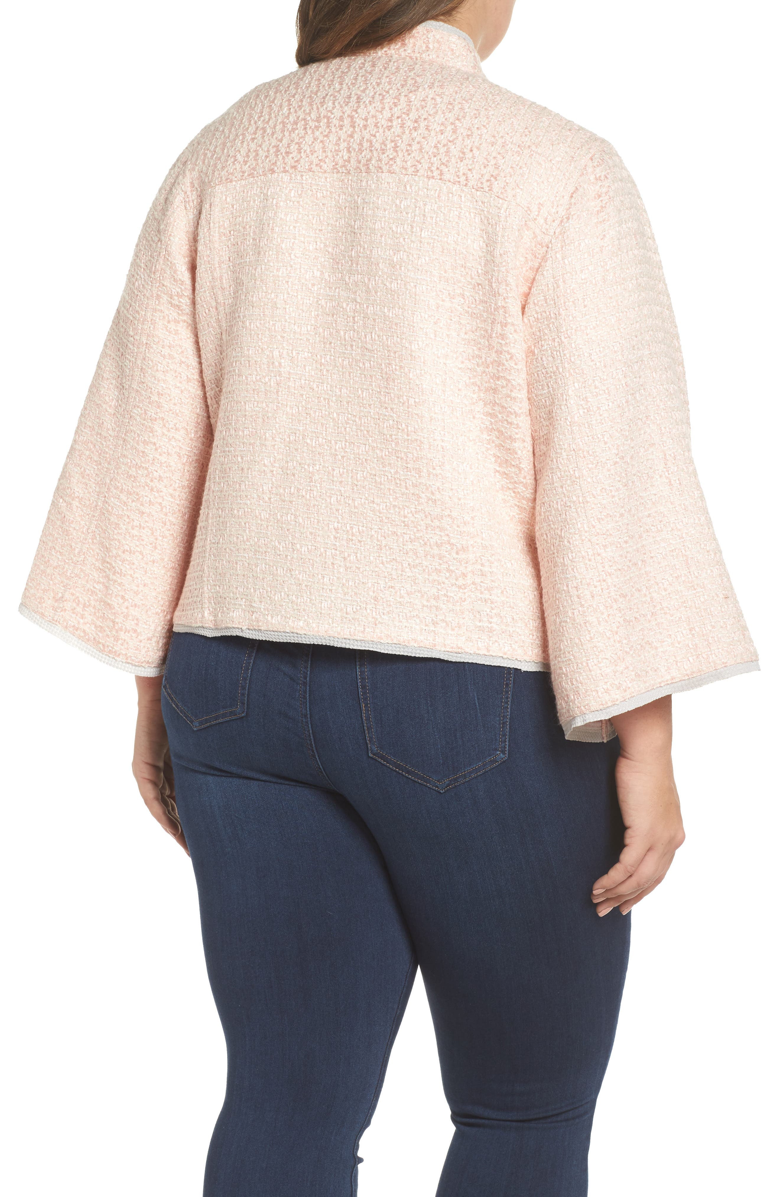 Bell Sleeve Crop Tweed Jacket,                             Alternate thumbnail 2, color,                             Ice Pink Combo