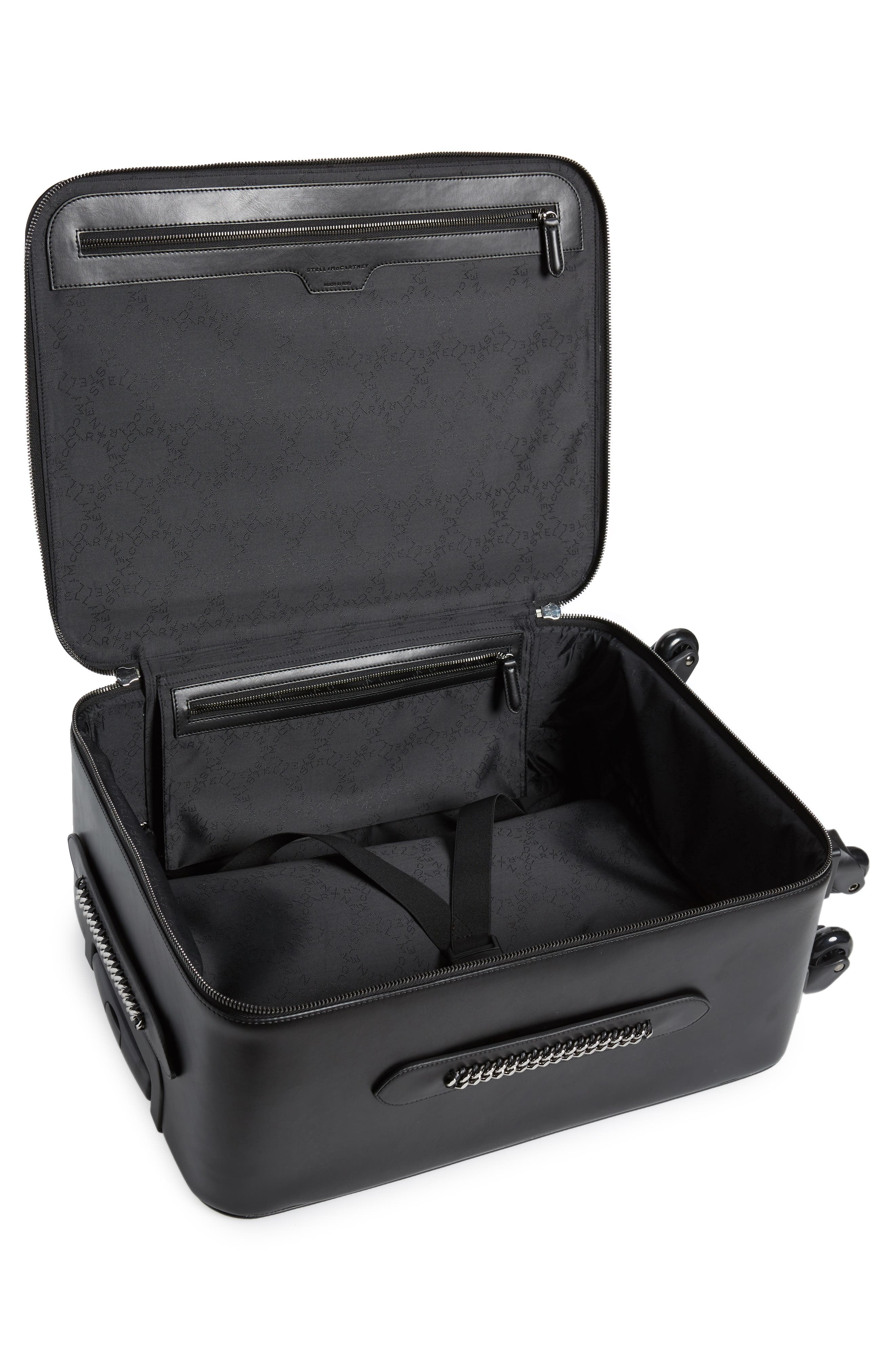Falabella Faux Leather Spinner Suitcase,                             Alternate thumbnail 2, color,                             Black/ Black