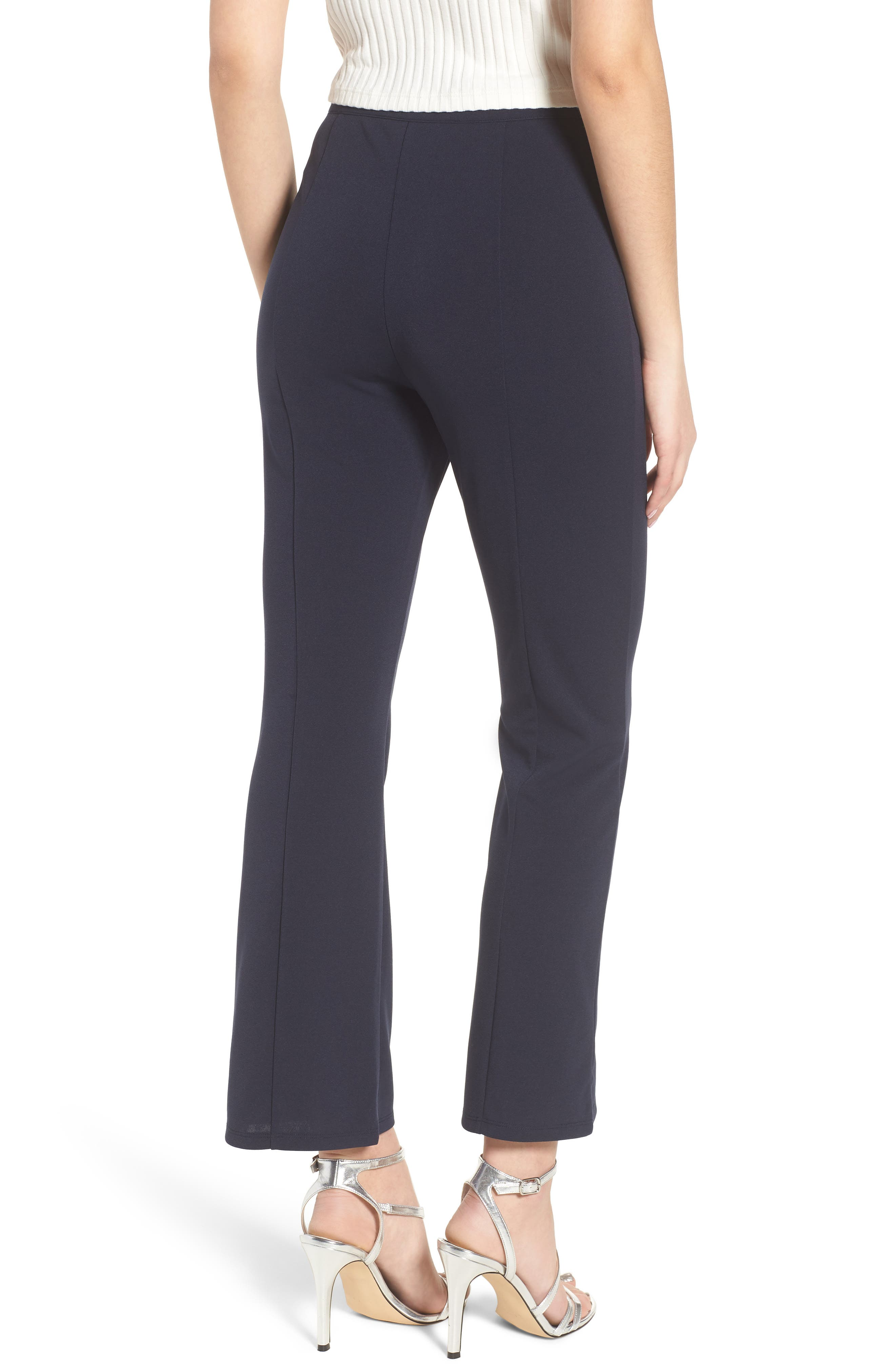 High Waist Crop Flare Pants,                             Alternate thumbnail 3, color,                             Navy Evening