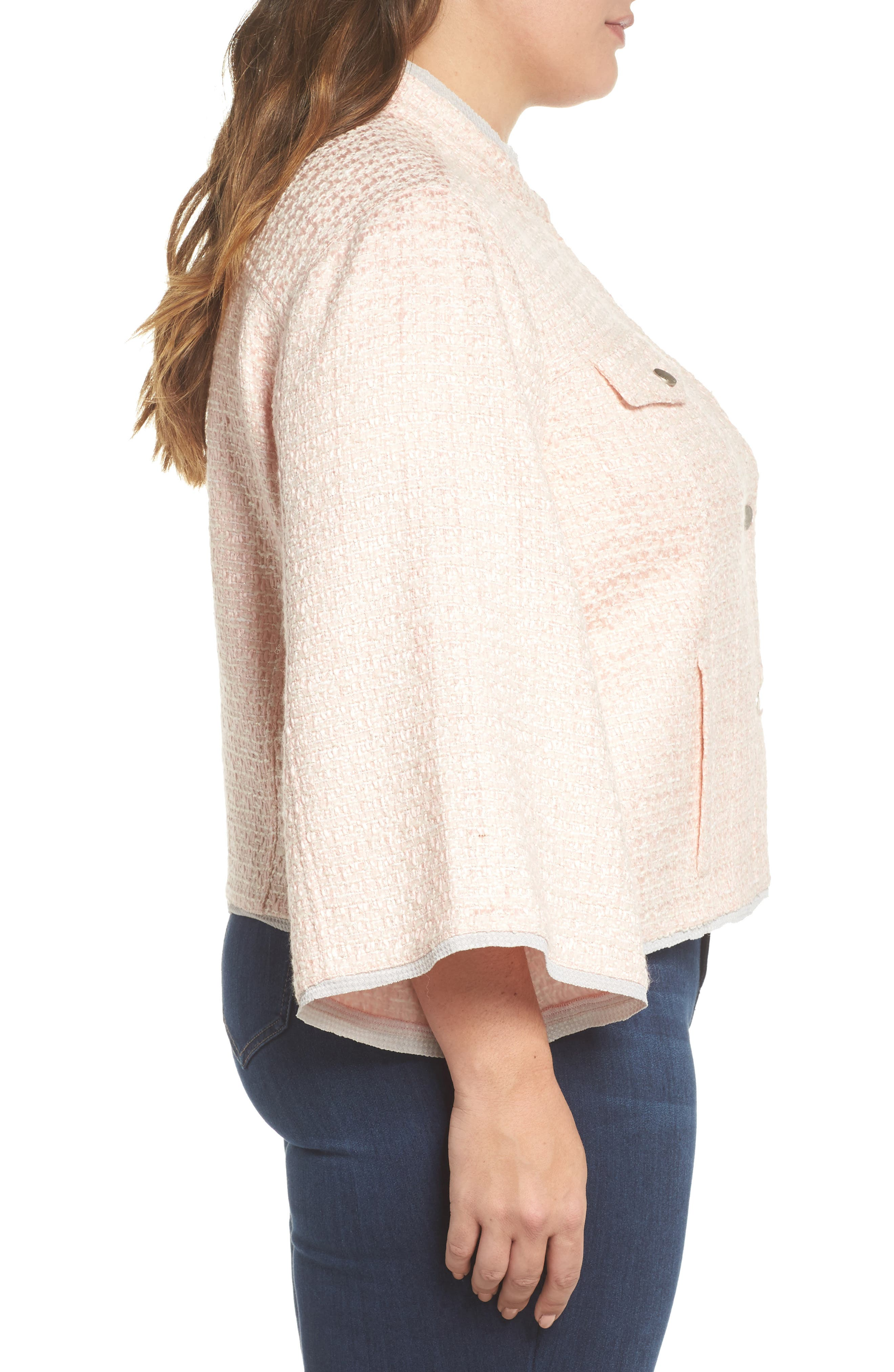 Bell Sleeve Crop Tweed Jacket,                             Alternate thumbnail 3, color,                             Ice Pink Combo