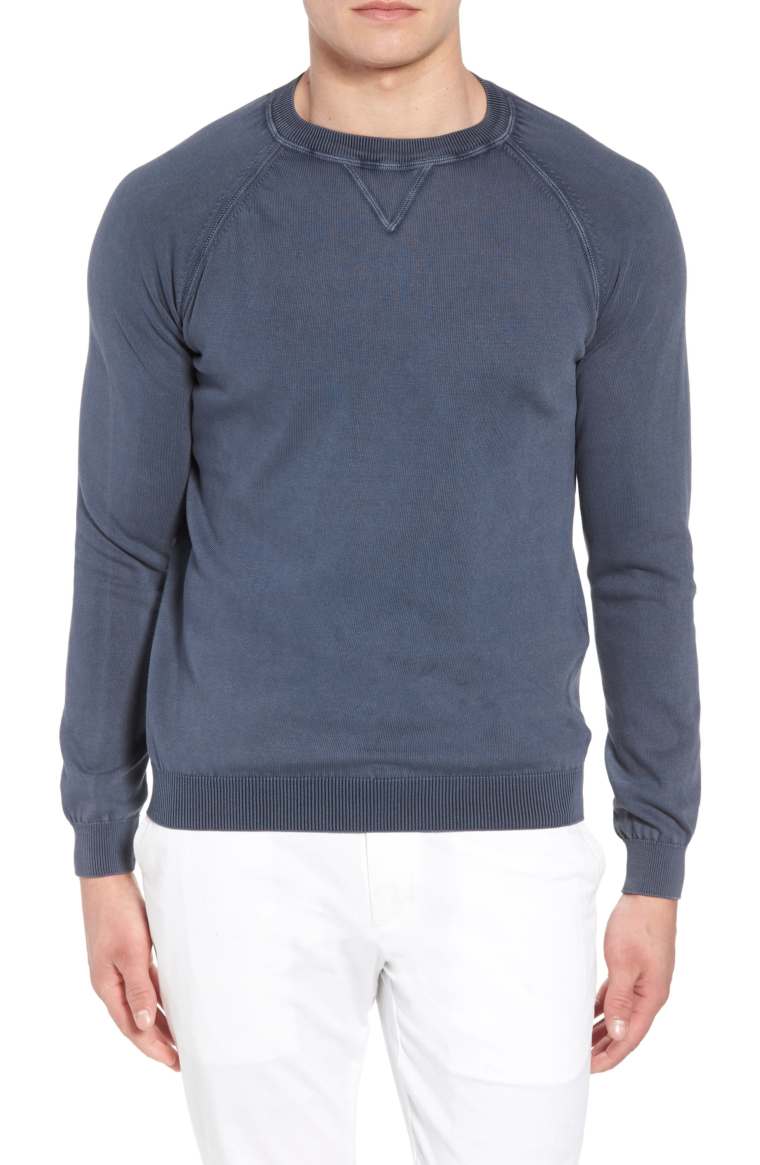 Alternate Image 1 Selected - David Donahue Stonewash Cotton Sweatshirt