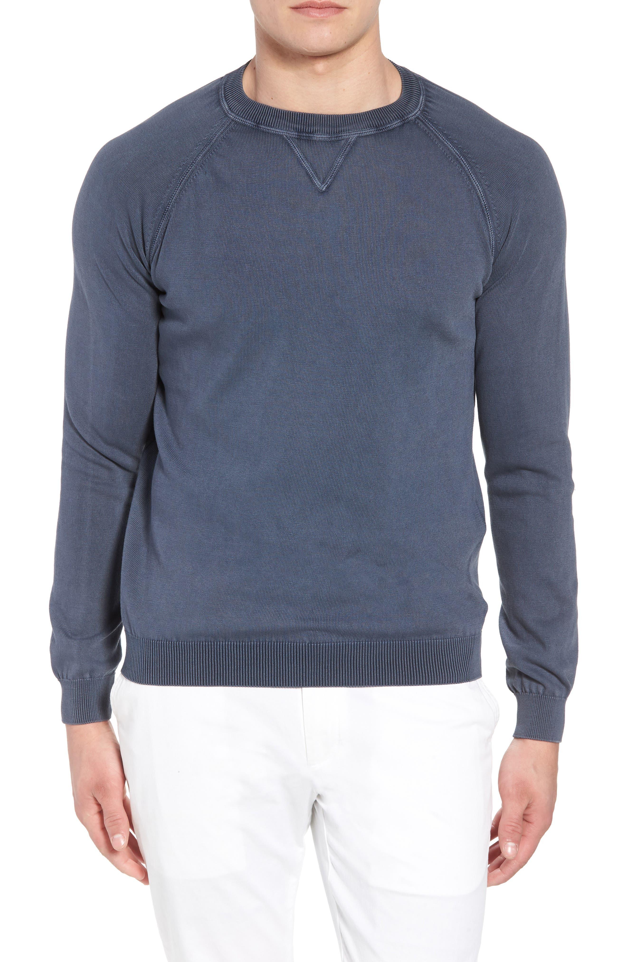 Stonewash Cotton Sweatshirt,                         Main,                         color, Washed Navy
