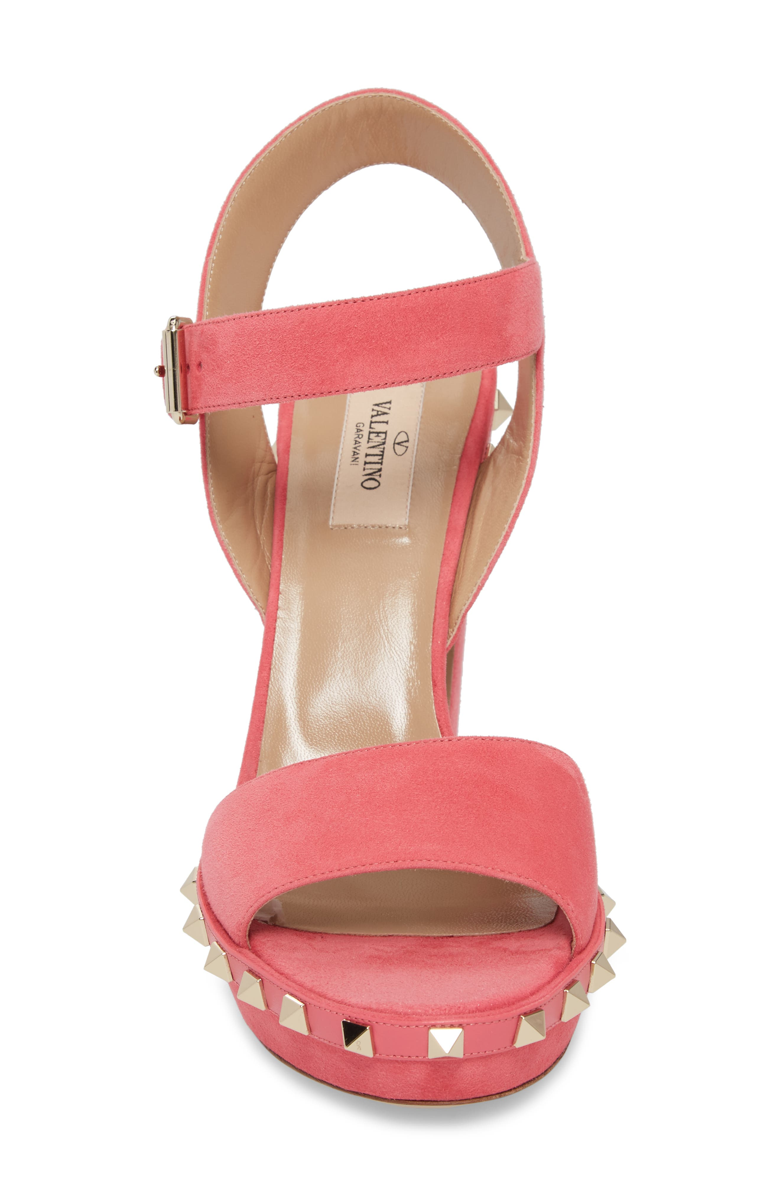Rockstud Platform Sandal,                             Alternate thumbnail 4, color,                             Shadow Pink