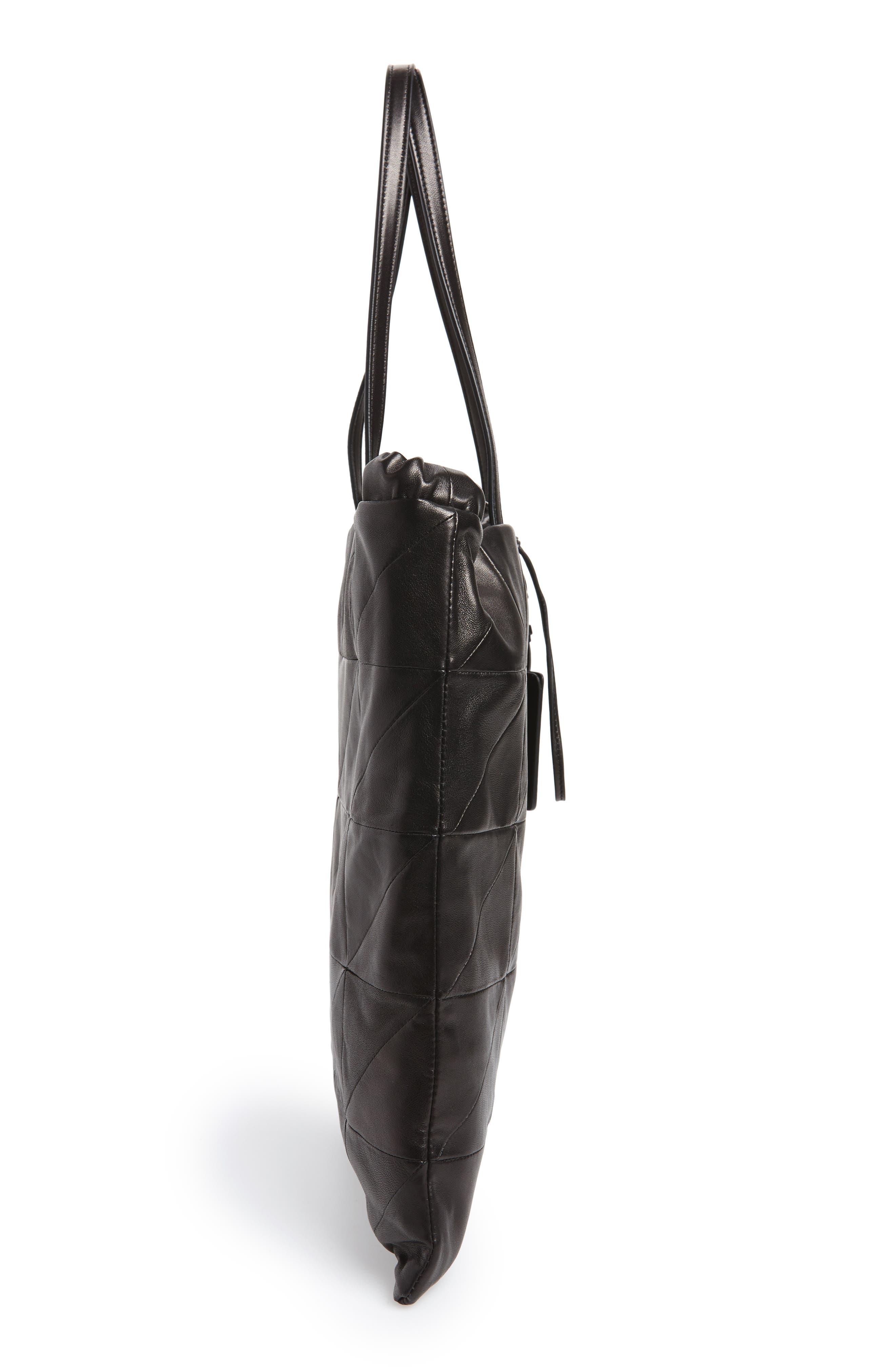 Antibe Flat Leather Shopper,                             Alternate thumbnail 5, color,                             Noir