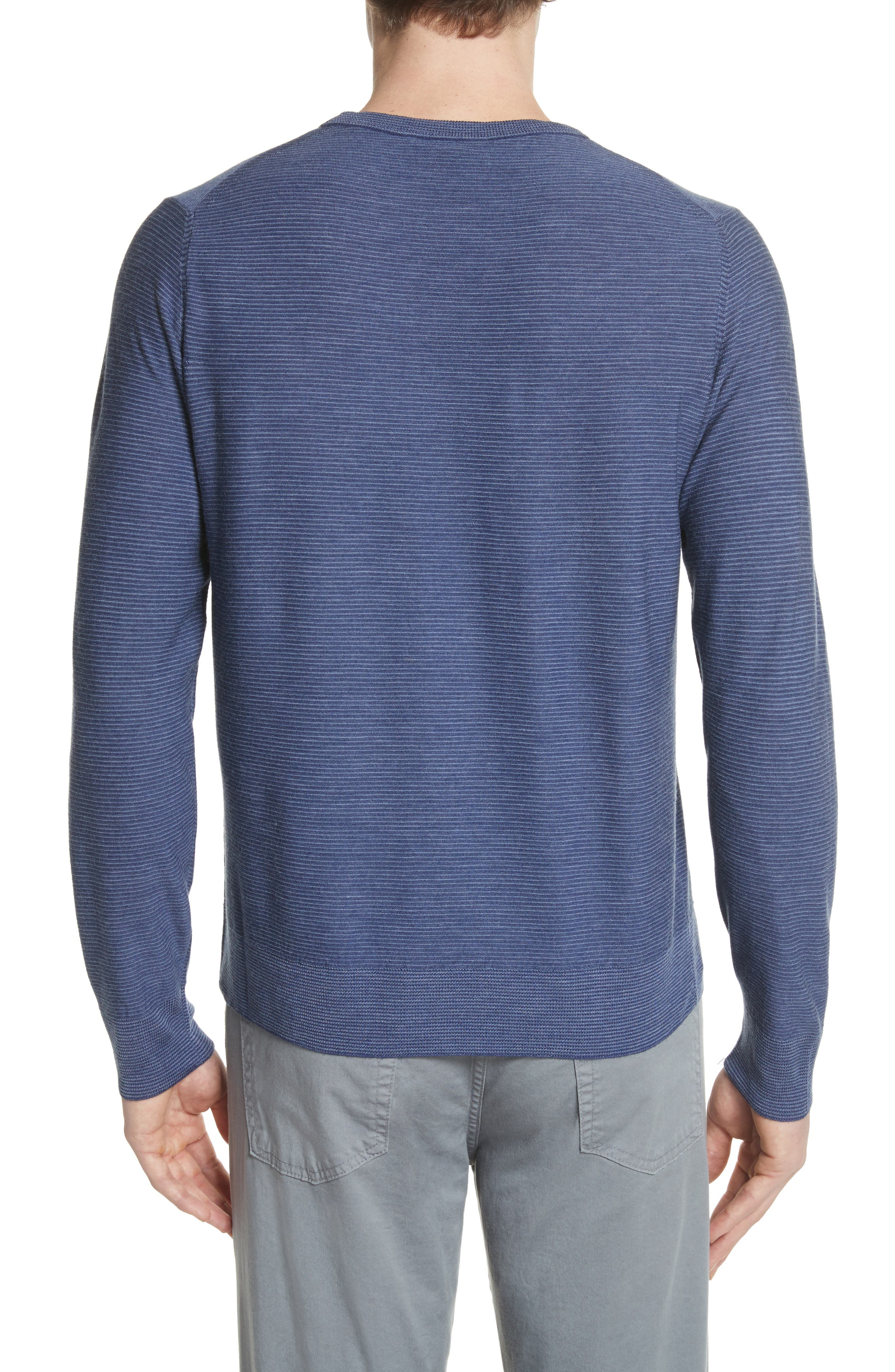 Alternate Image 2  - Canali Stripe Crewneck Wool Sweater