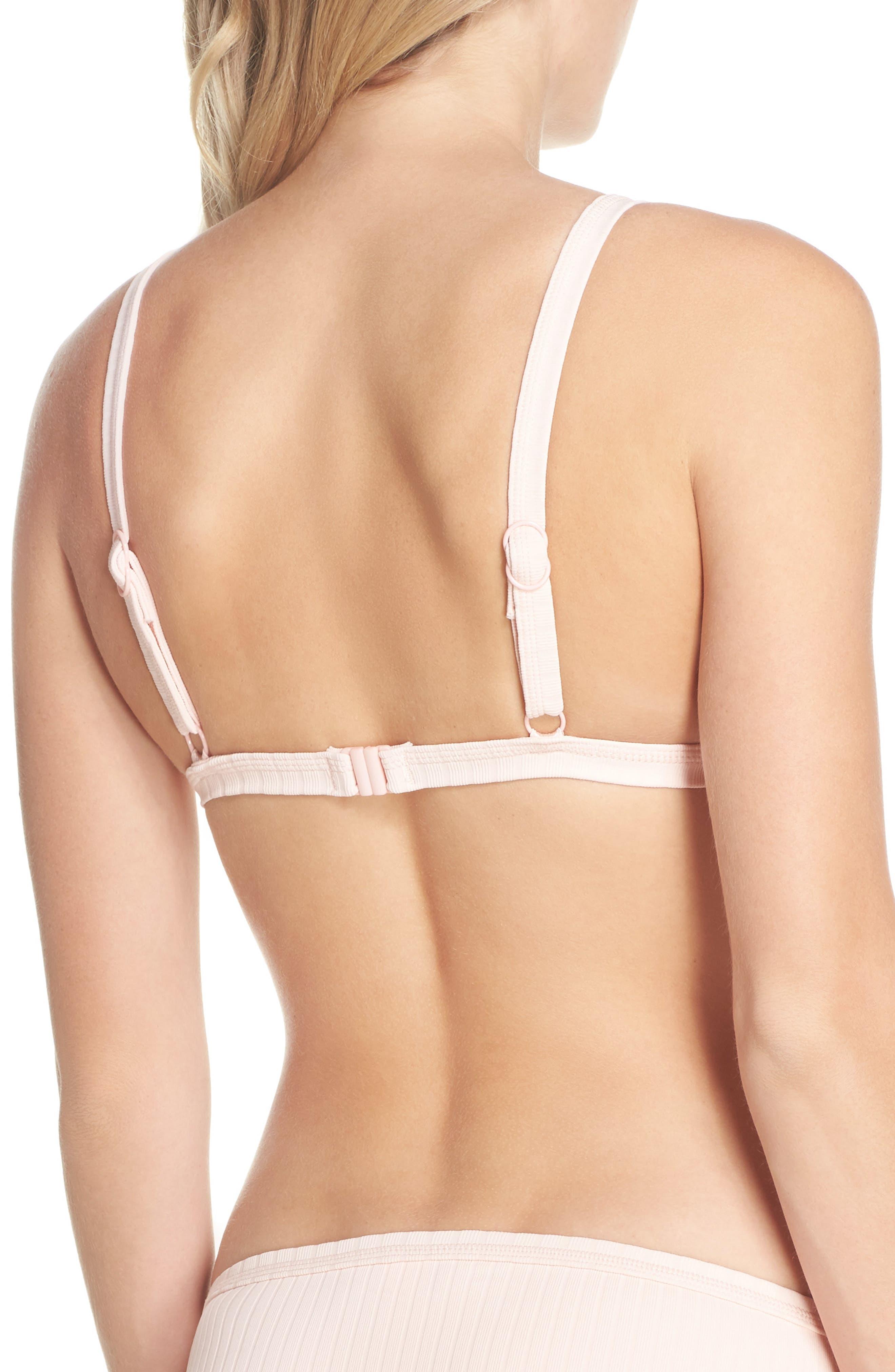 Inka Ribbed Bikini Top,                             Alternate thumbnail 2, color,                             Rose Pink
