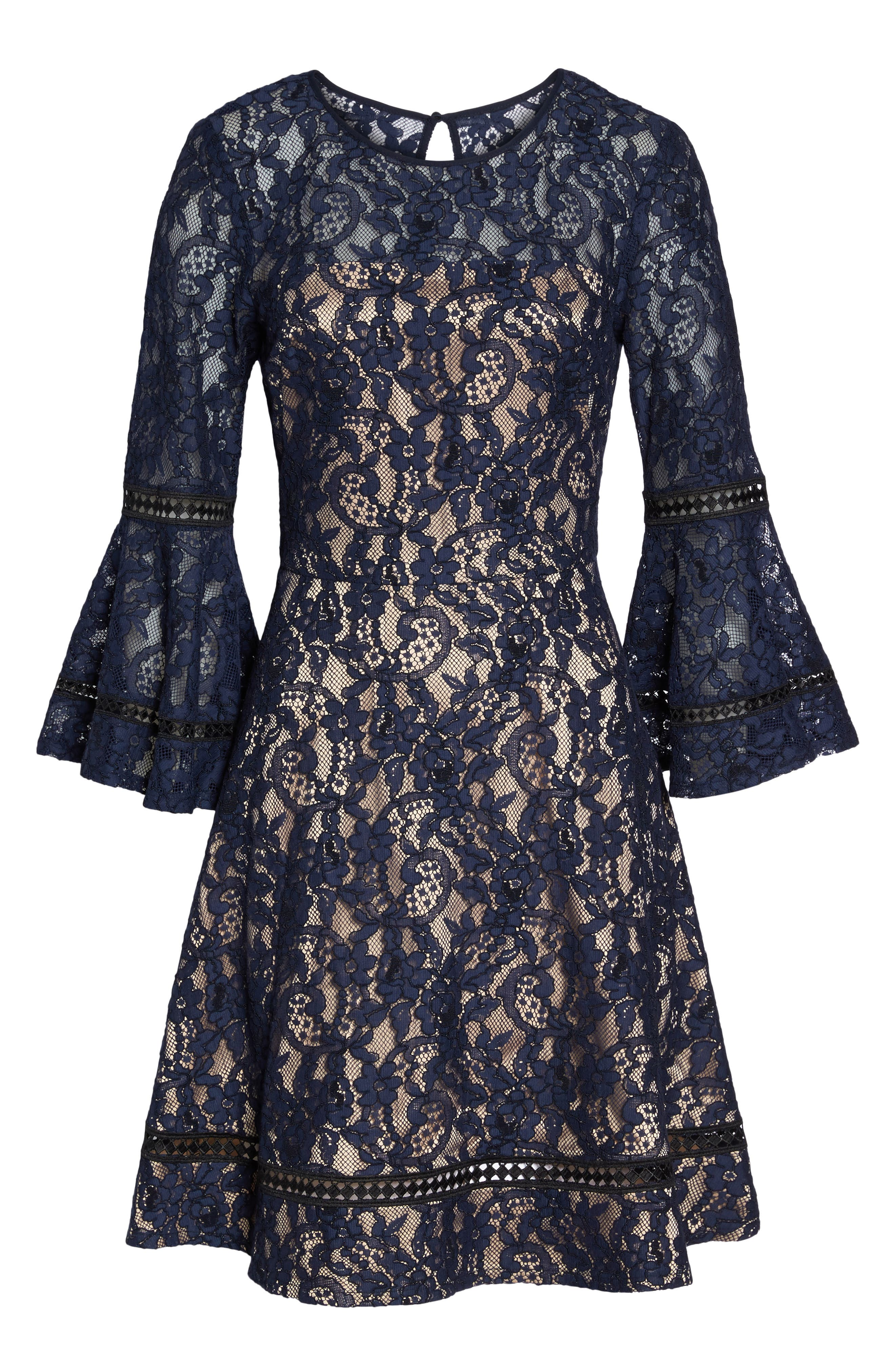 Bell Sleeve Lace Fit & Flare Dress,                             Alternate thumbnail 7, color,                             Navy