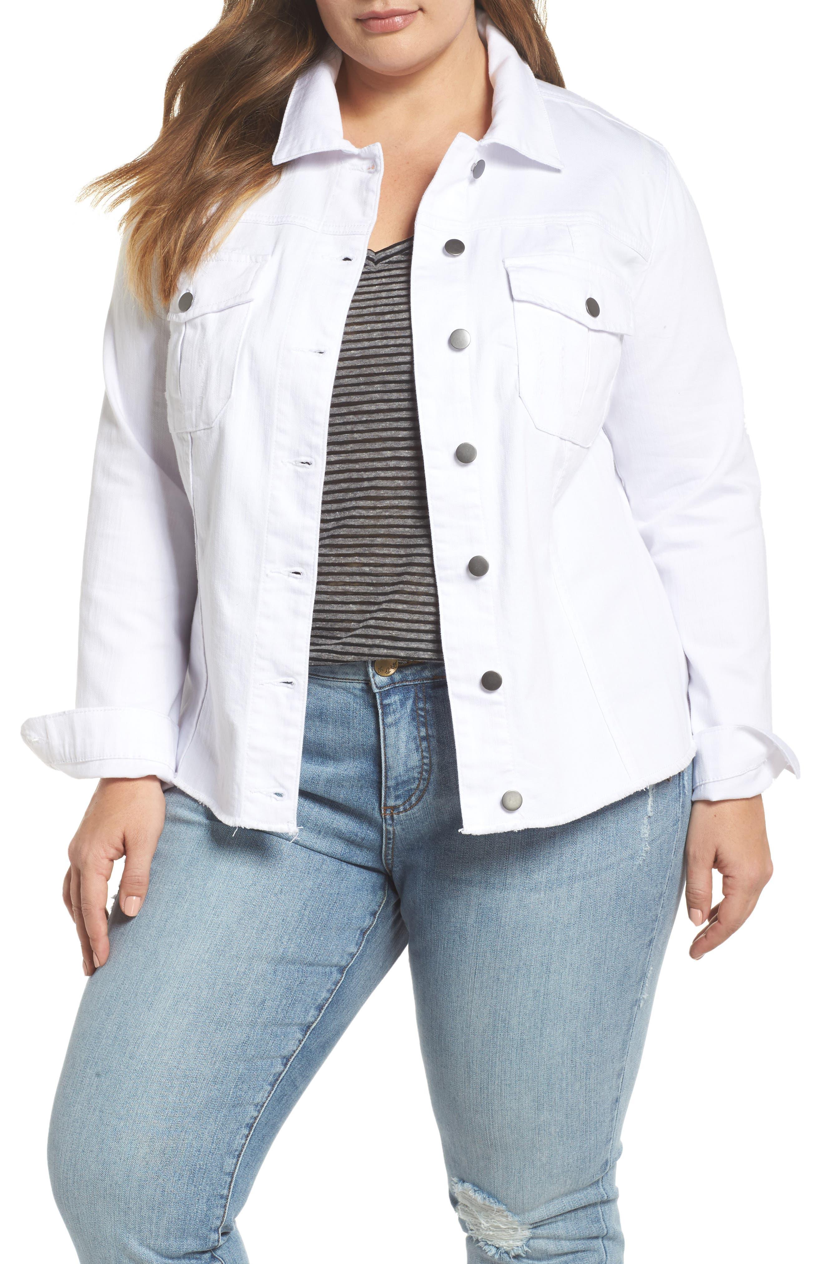 Kara Denim Jacket,                             Main thumbnail 1, color,                             Optic White