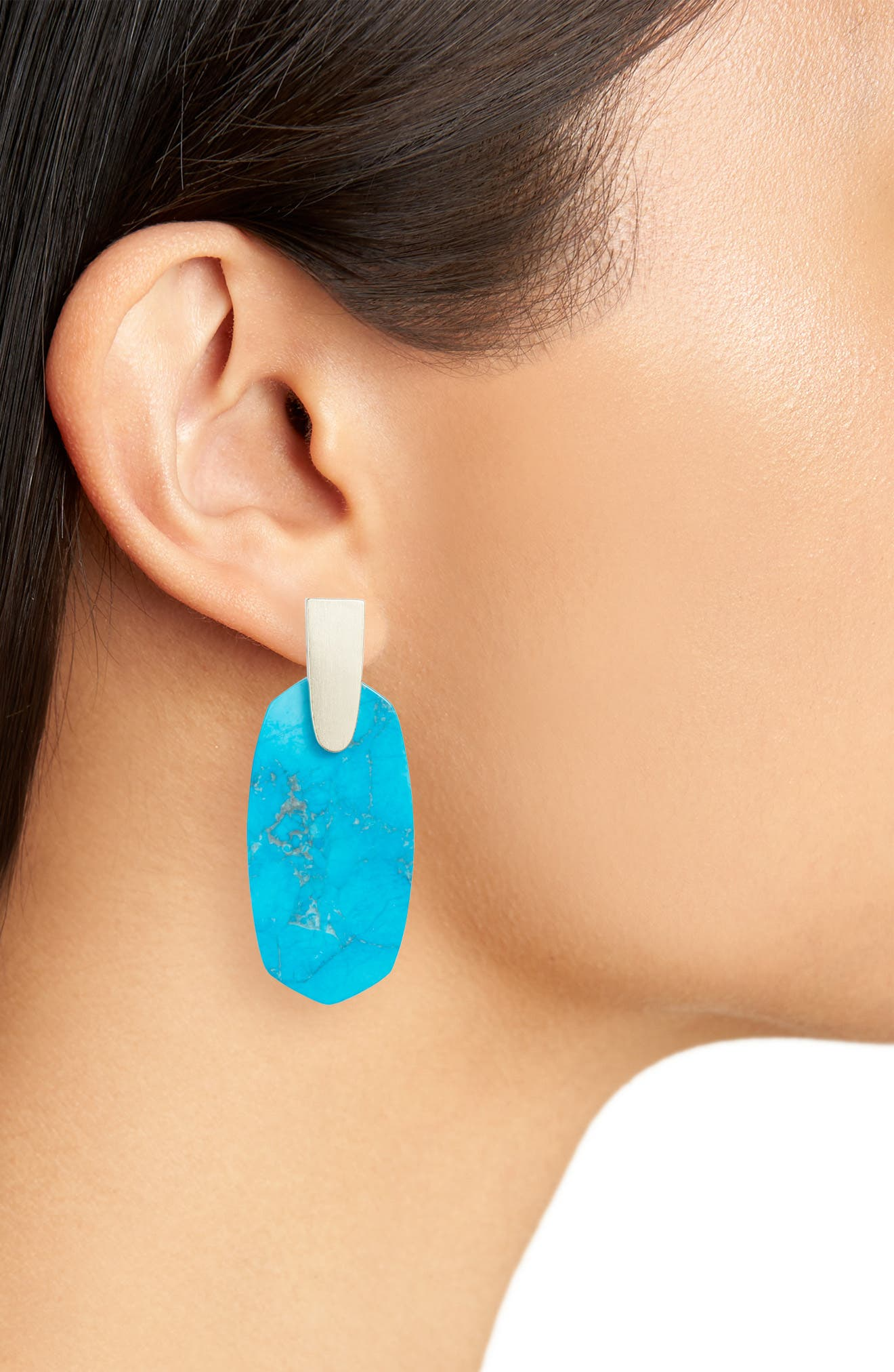 Aragon Drop Earrings,                             Alternate thumbnail 2, color,                             Aqua Howlite/ Gold