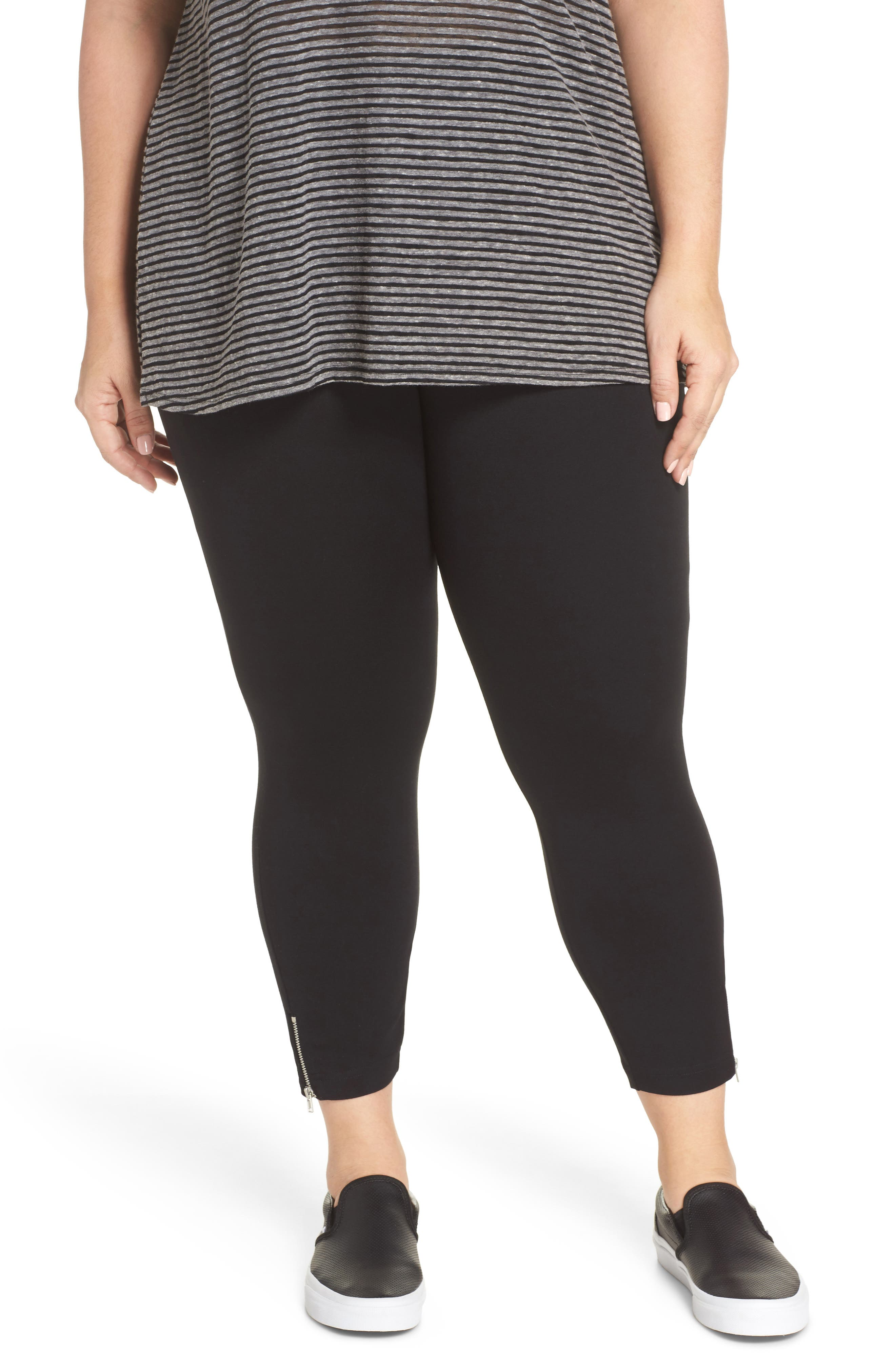 Lyssé Mini Zip Crop Leggings (Plus Size)
