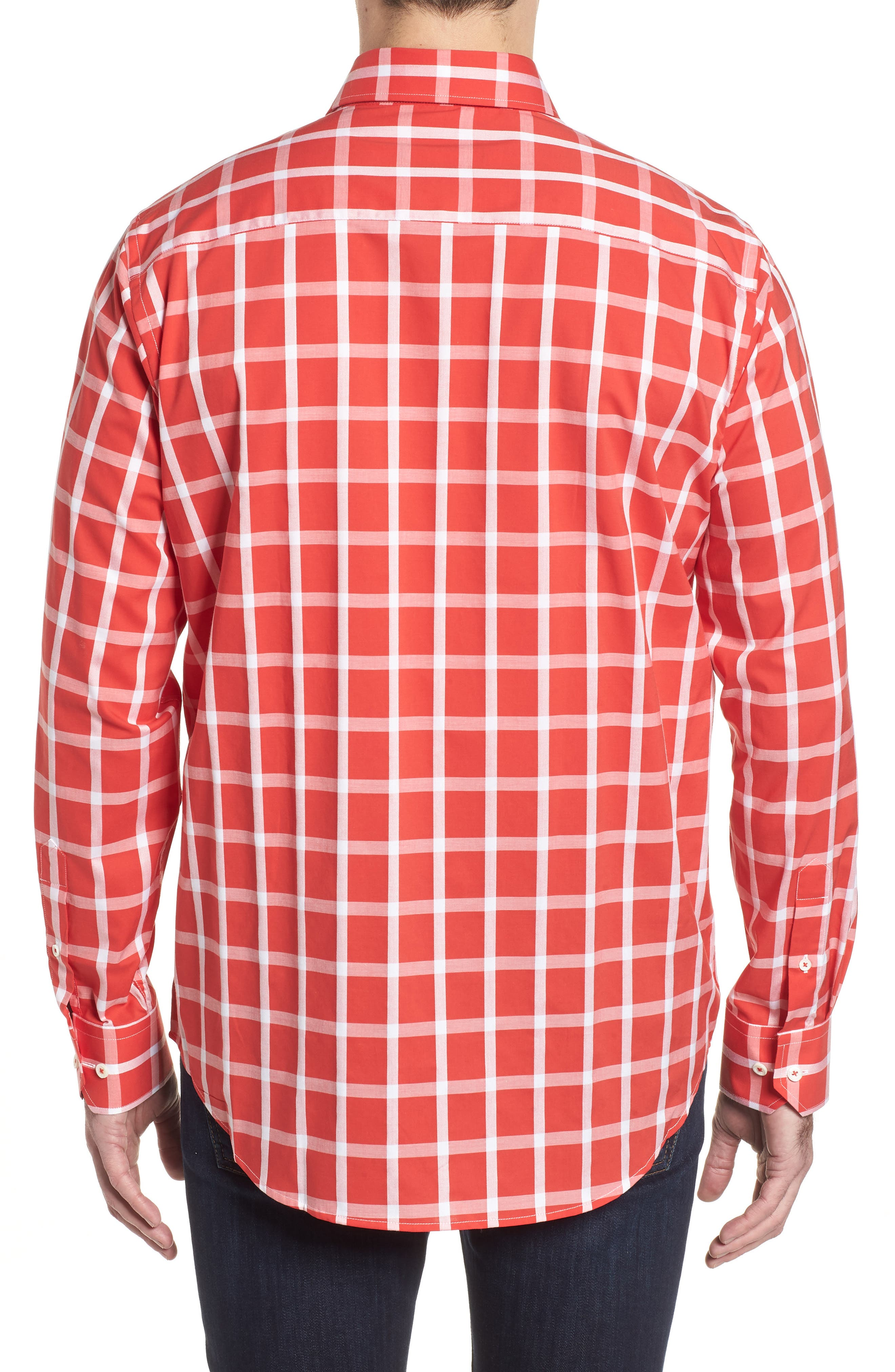 Classic Fit Windowpane Plaid Sport Shirt,                             Alternate thumbnail 2, color,                             Pimento