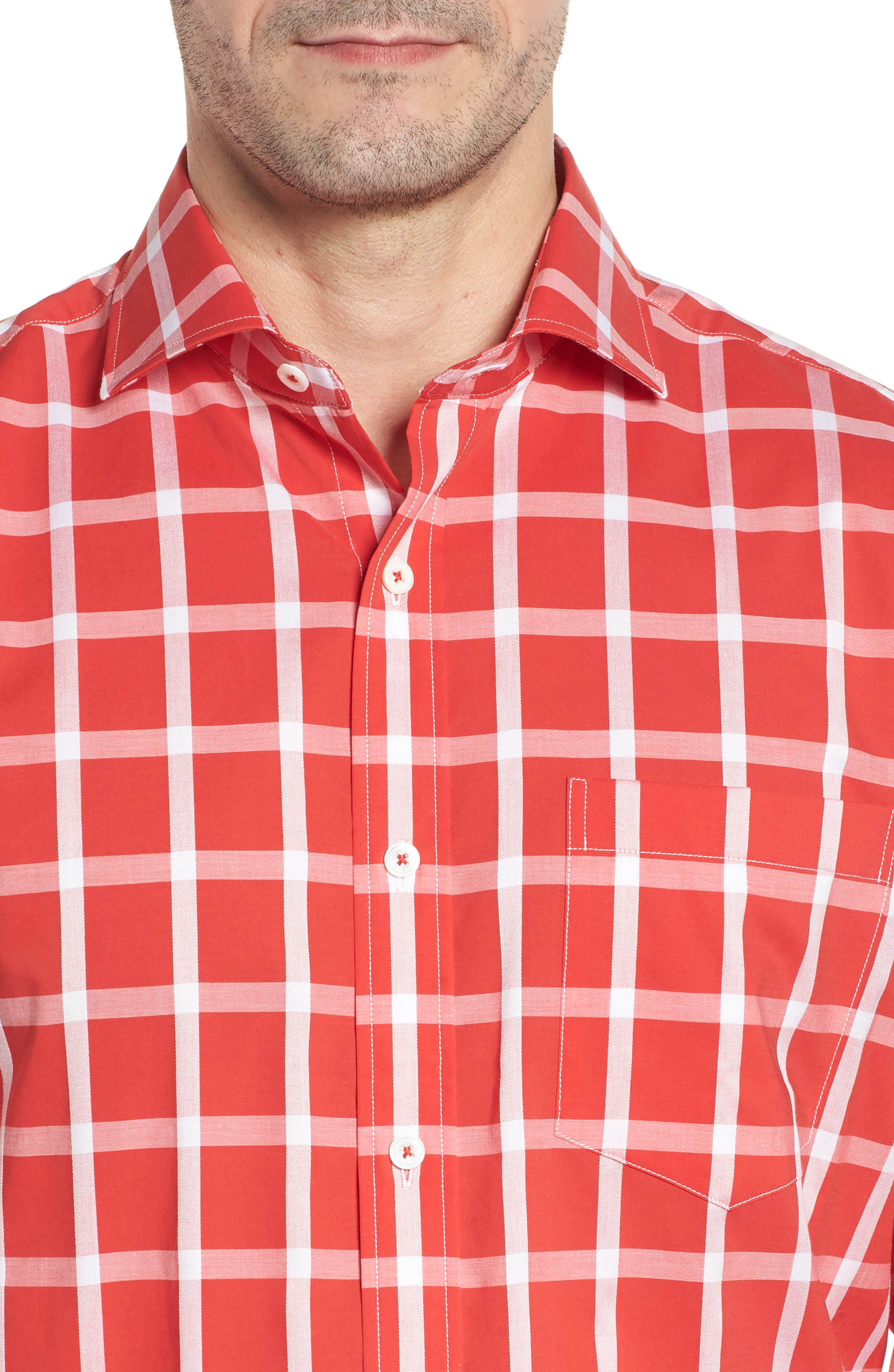 Classic Fit Windowpane Plaid Sport Shirt,                             Alternate thumbnail 4, color,                             Pimento