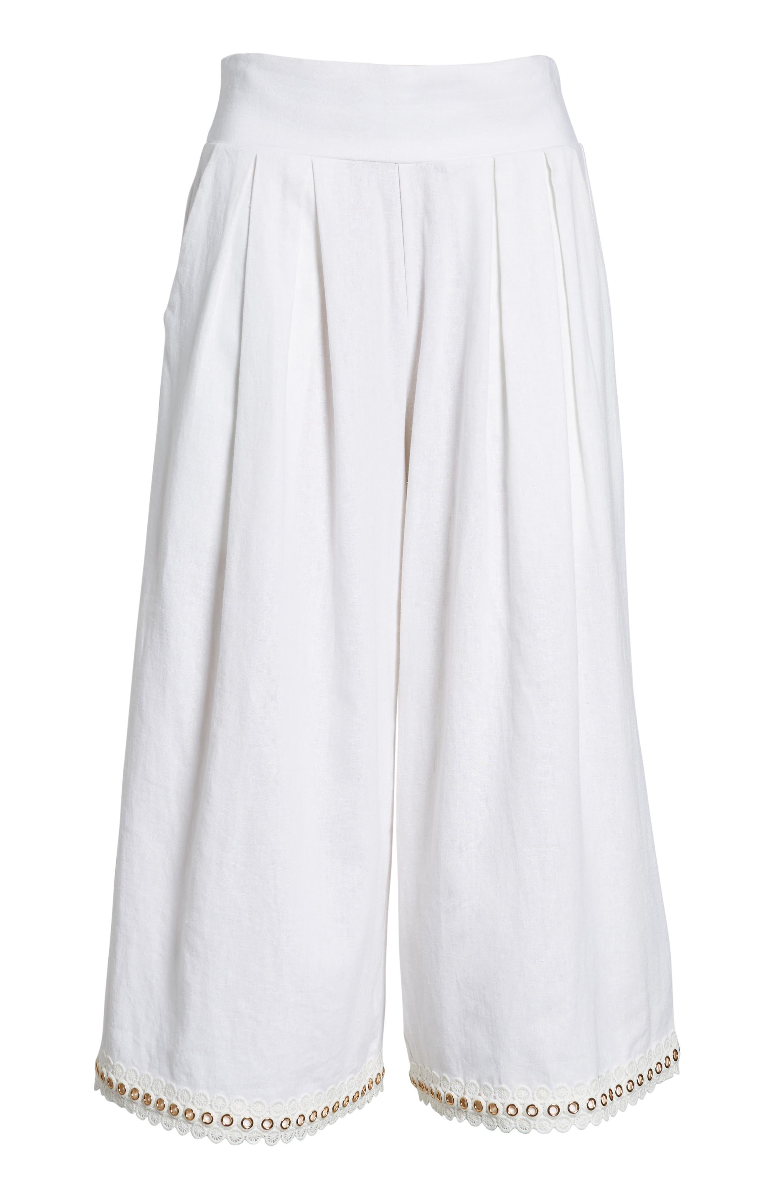 Imara Linen Blend Pants,                             Alternate thumbnail 7, color,                             White