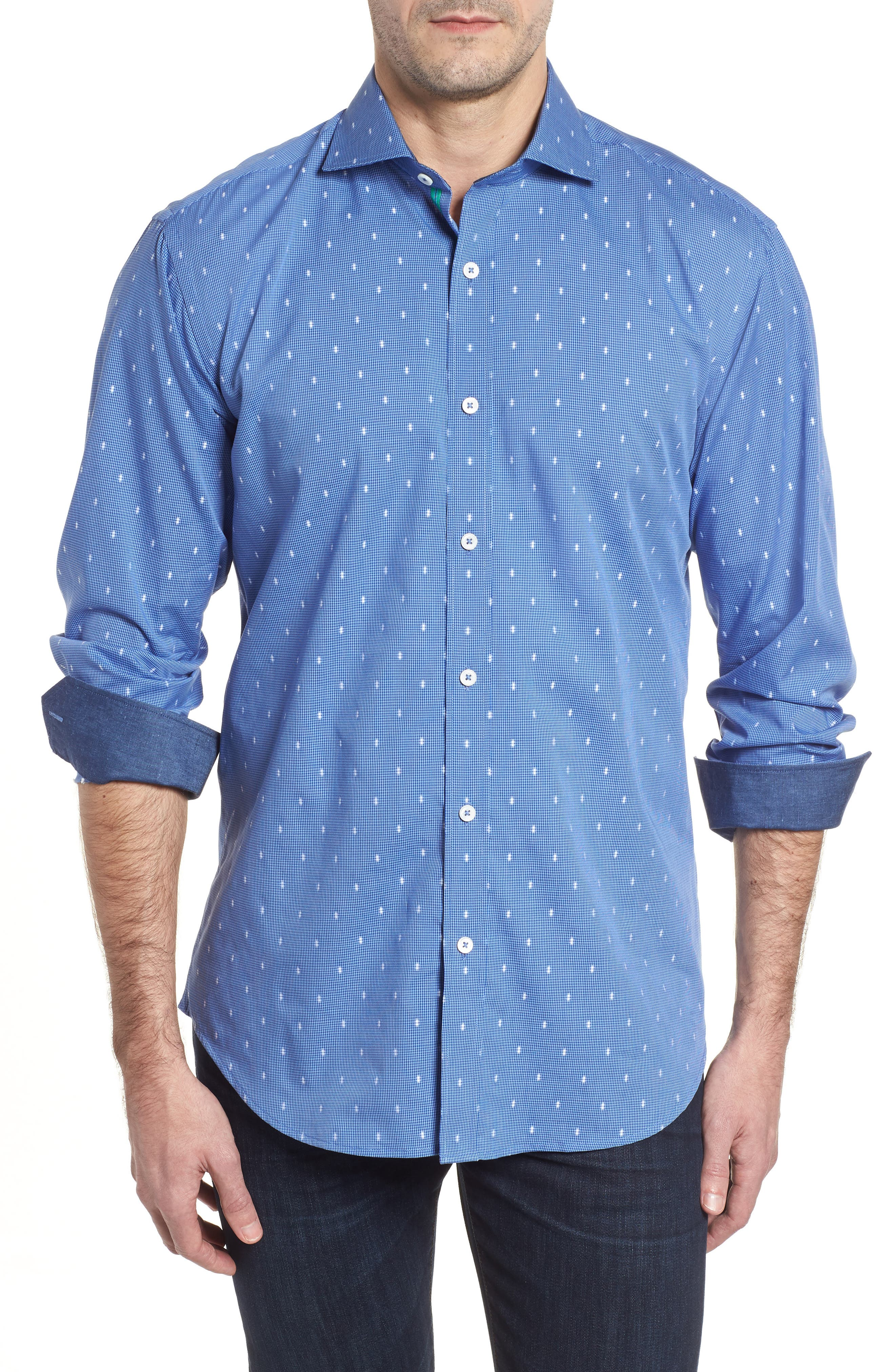Shaped Fit Pin Check Sport Shirt,                             Main thumbnail 1, color,                             Classic Blue