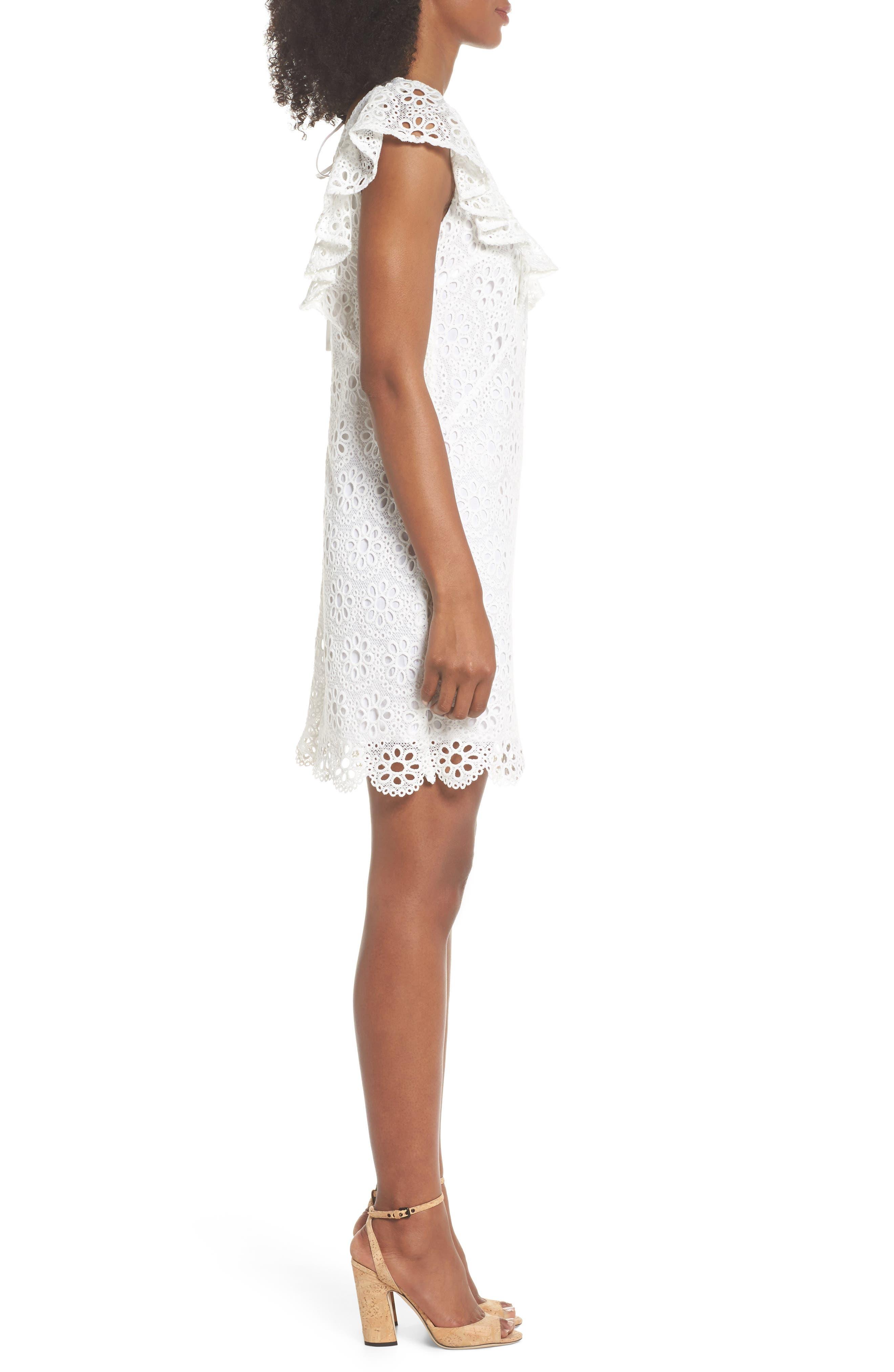 Neriah Eyelet Embroidered Dress,                             Alternate thumbnail 3, color,                             Whitewash