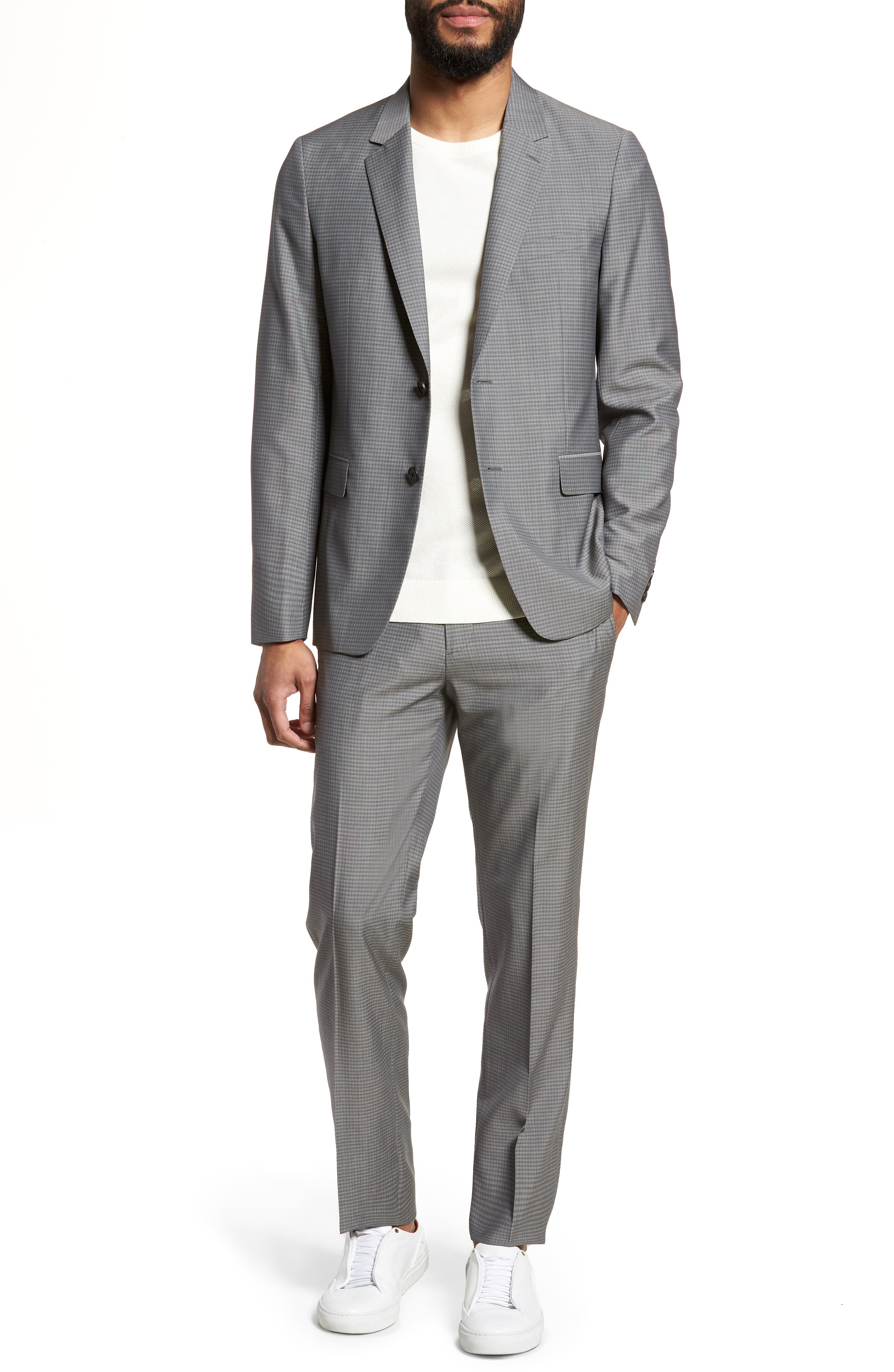 Gansevoort Trim Fit Check Wool Sport Coat,                             Alternate thumbnail 6, color,                             Dove Multi