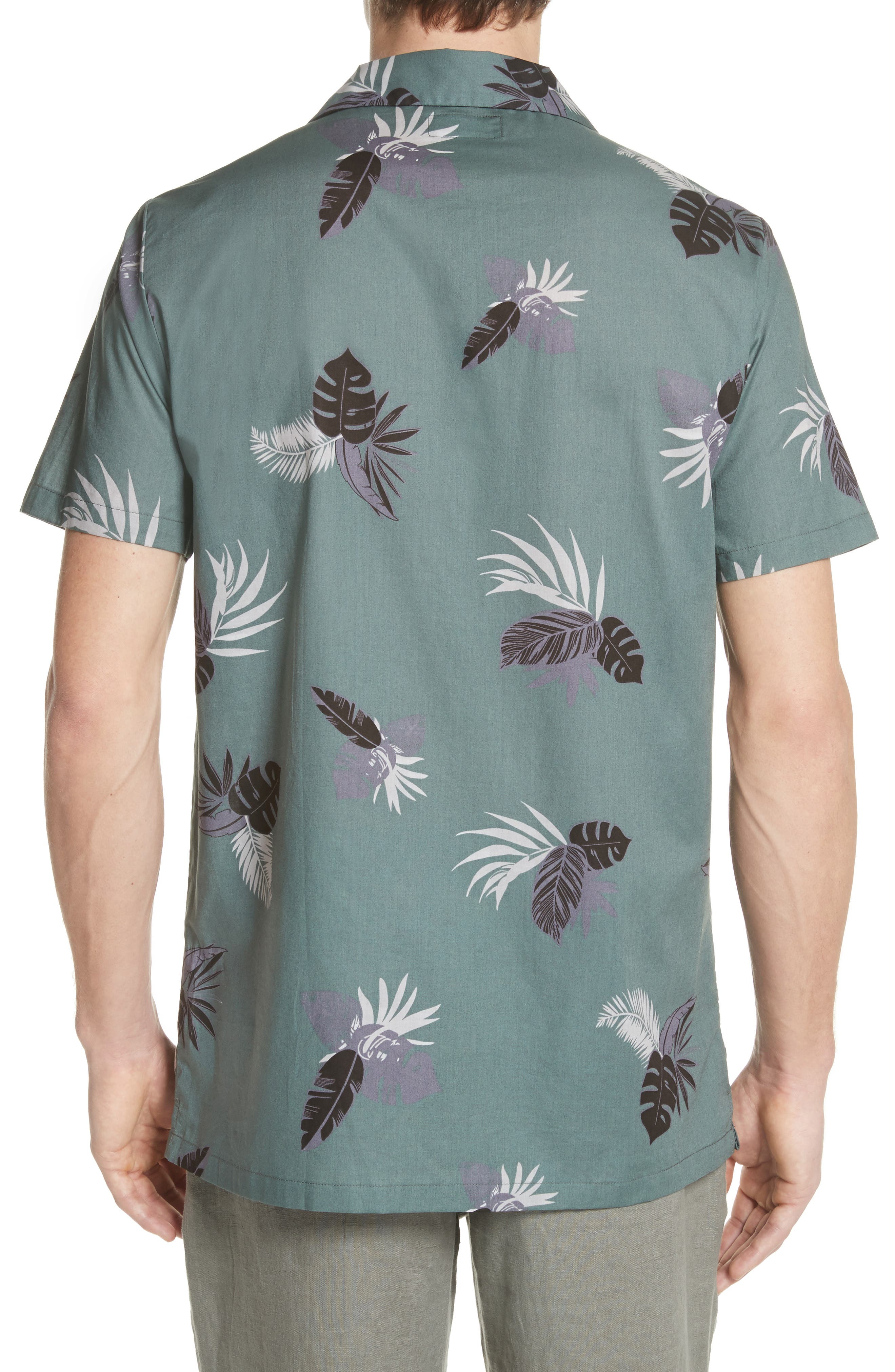 Linear Palm Print Vacation Shirt,                             Alternate thumbnail 3, color,                             Deep Sage Multi