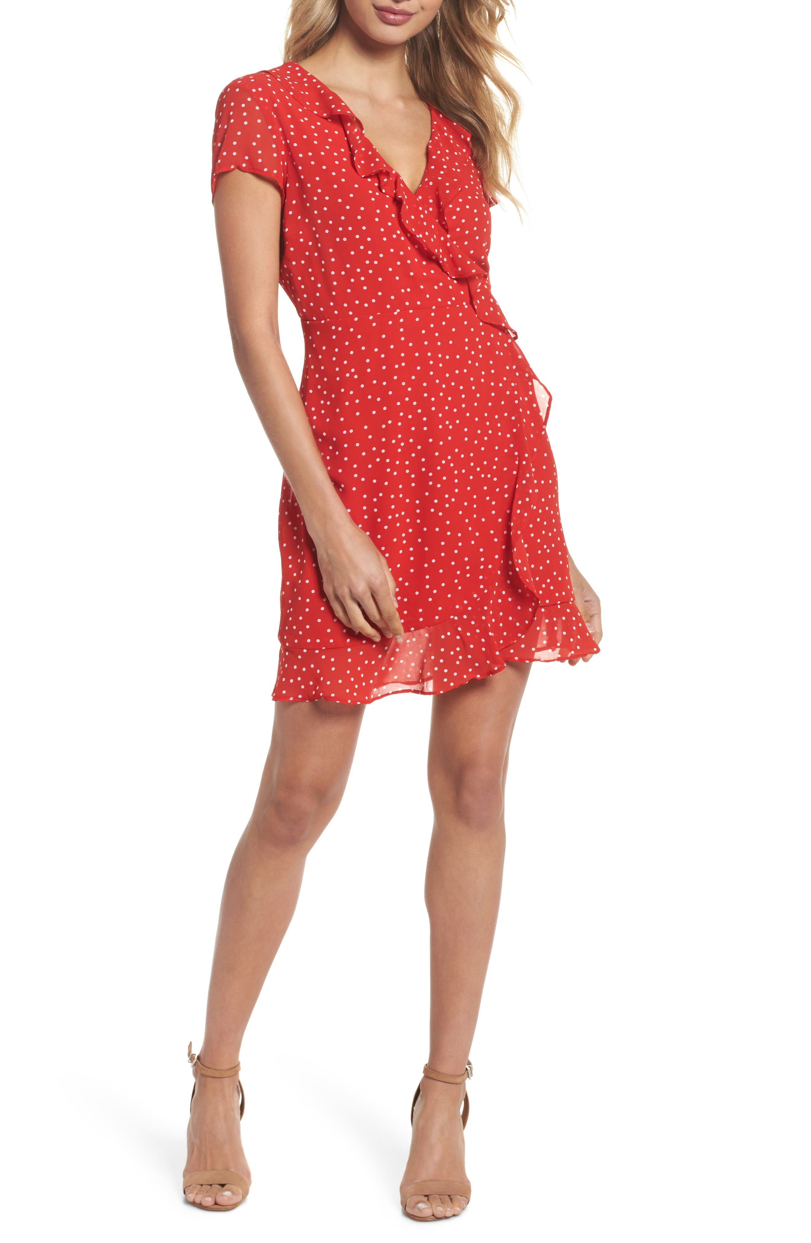 Polka Dot Ruffle Dress,                         Main,                         color, Berry Spot