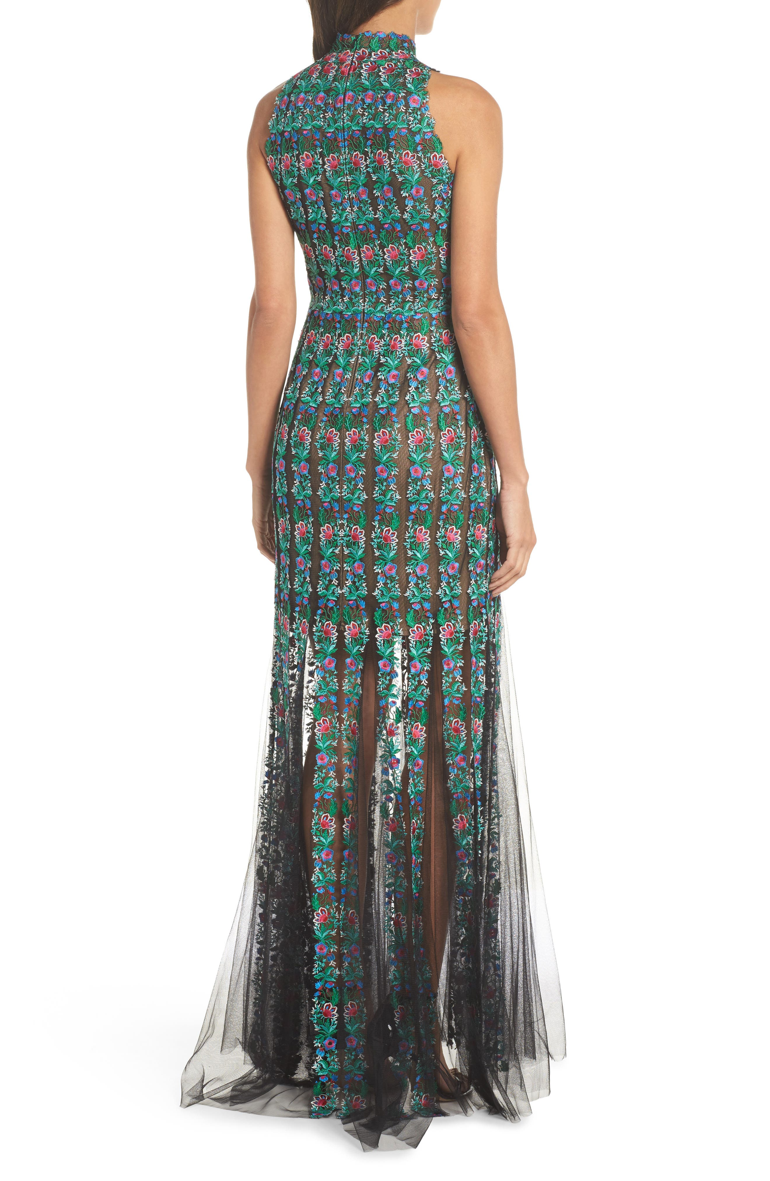 Embroidered Tulle Gown,                             Alternate thumbnail 2, color,                             Black/ Jade