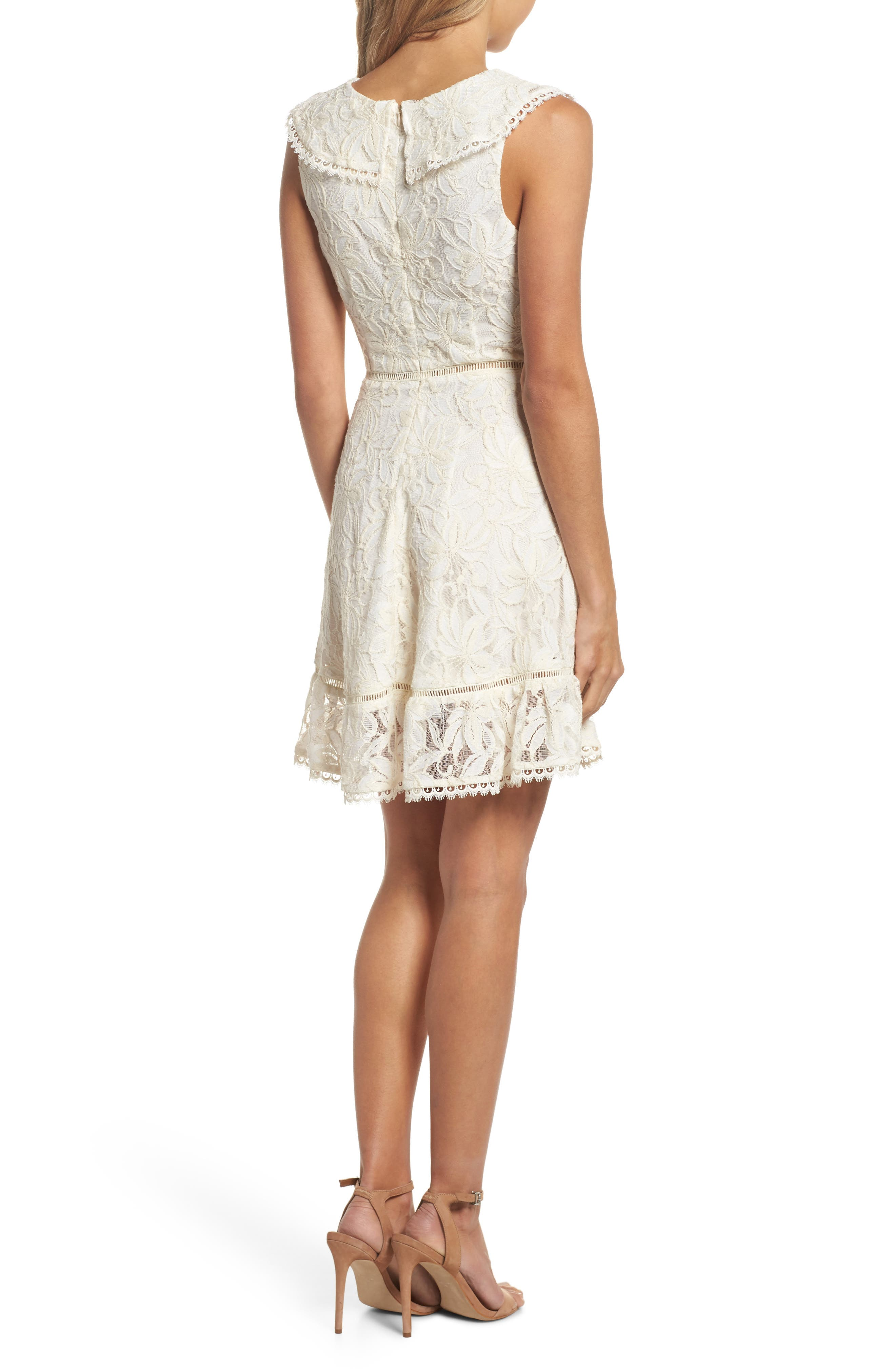 Rease Ruffle Lace Dress,                             Alternate thumbnail 2, color,                             Antique White