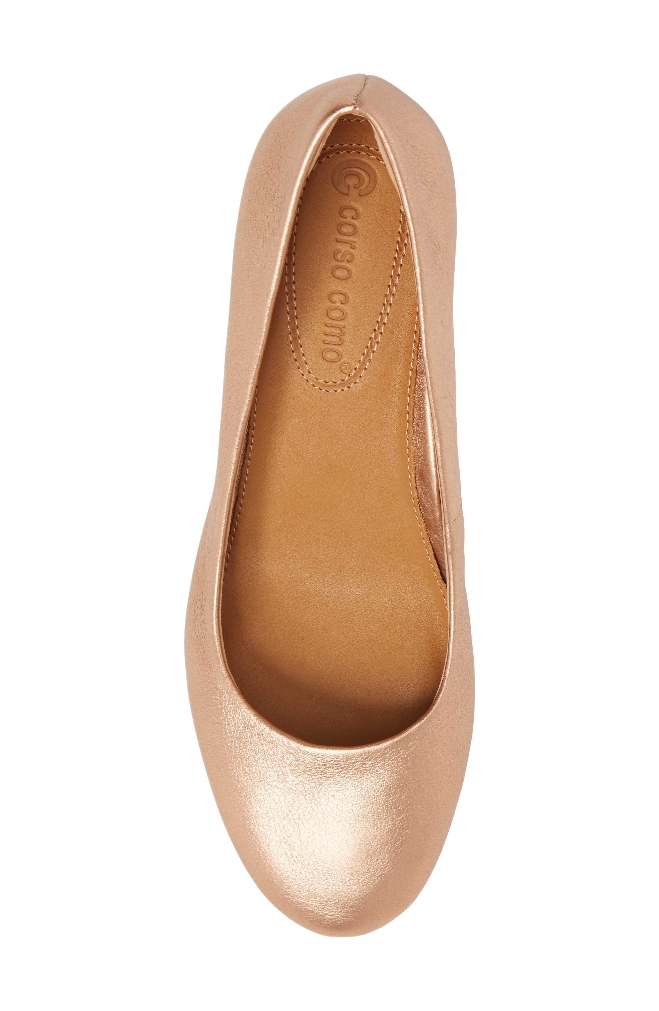 Gwynn Block Heel Pump,                             Alternate thumbnail 5, color,                             Rose Gold Leather