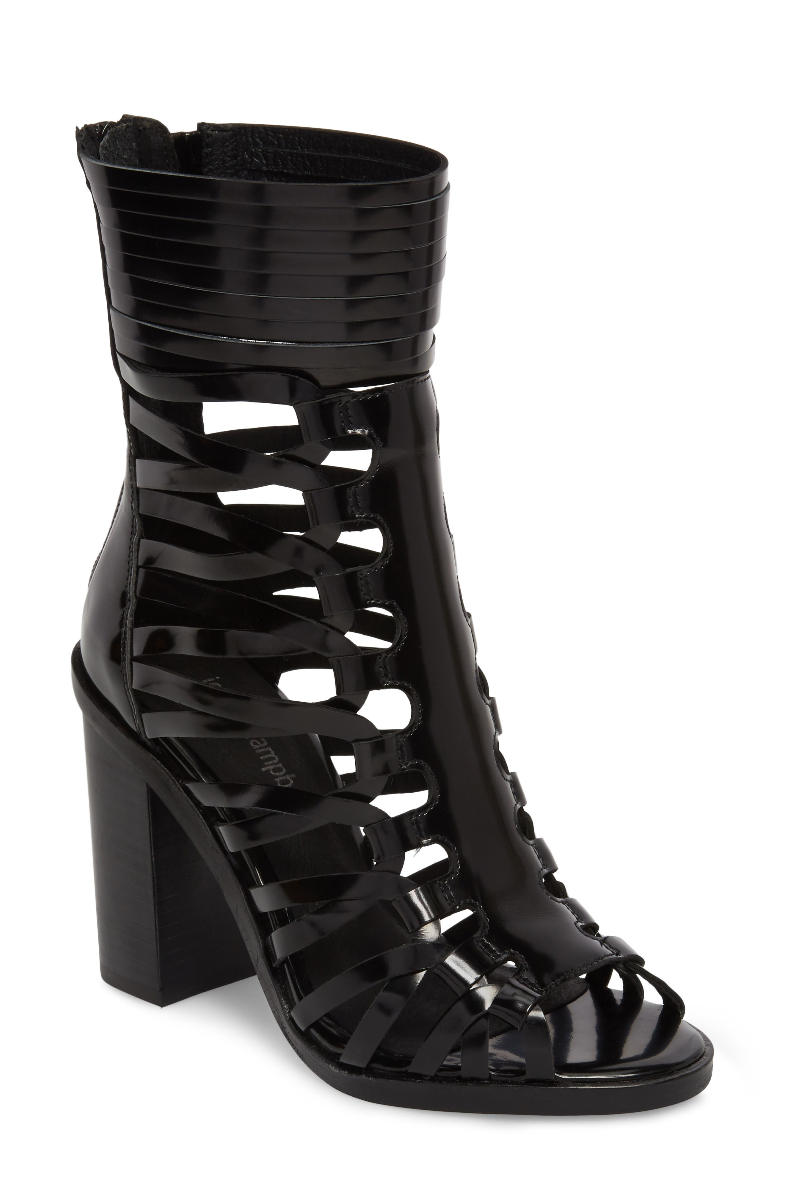Deportivo Strappy Bootie,                         Main,                         color, Black Leather