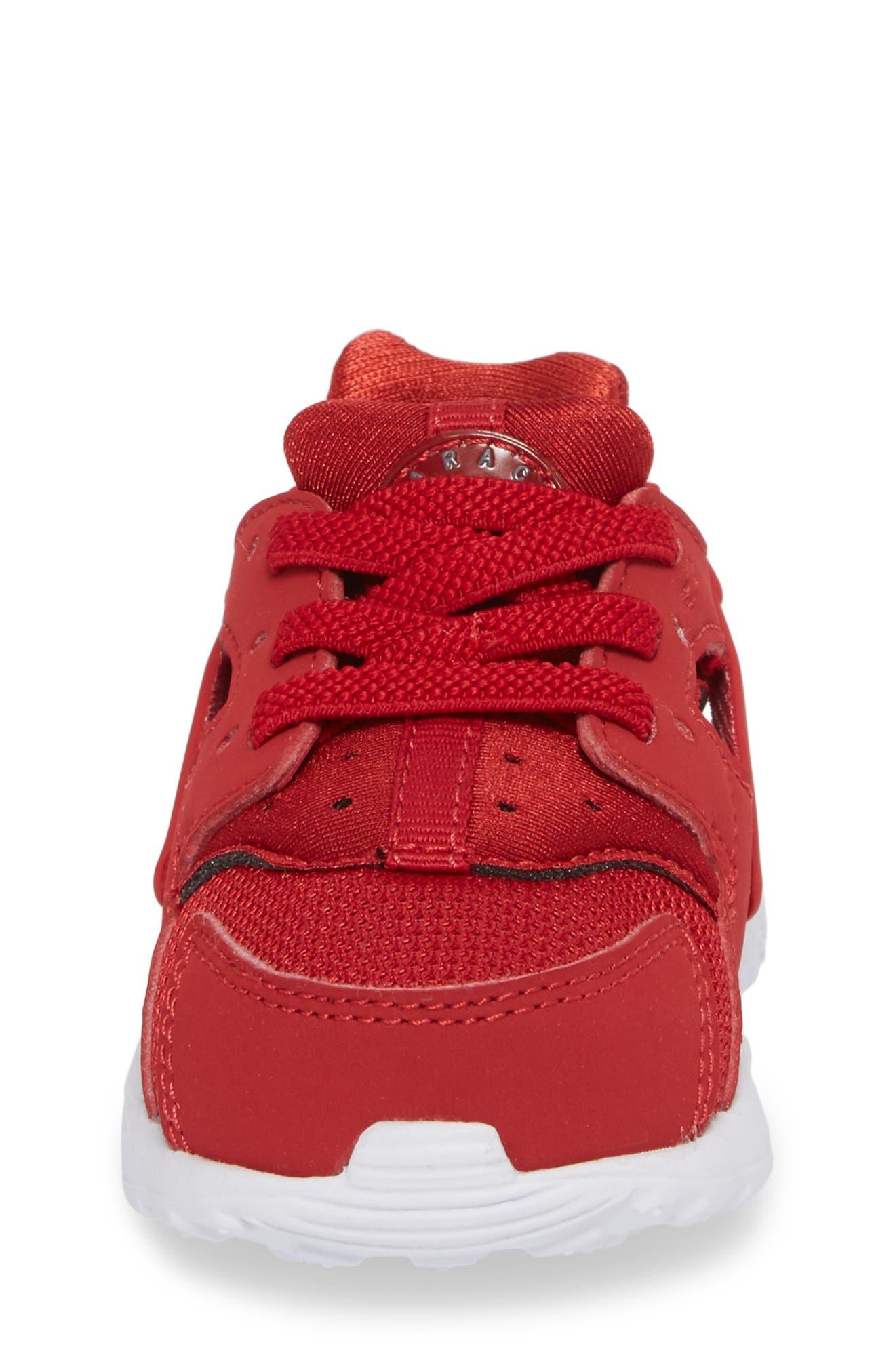 'Huarache Run' Sneaker,                             Alternate thumbnail 4, color,                             Gym Red/ Dark Grey/ White