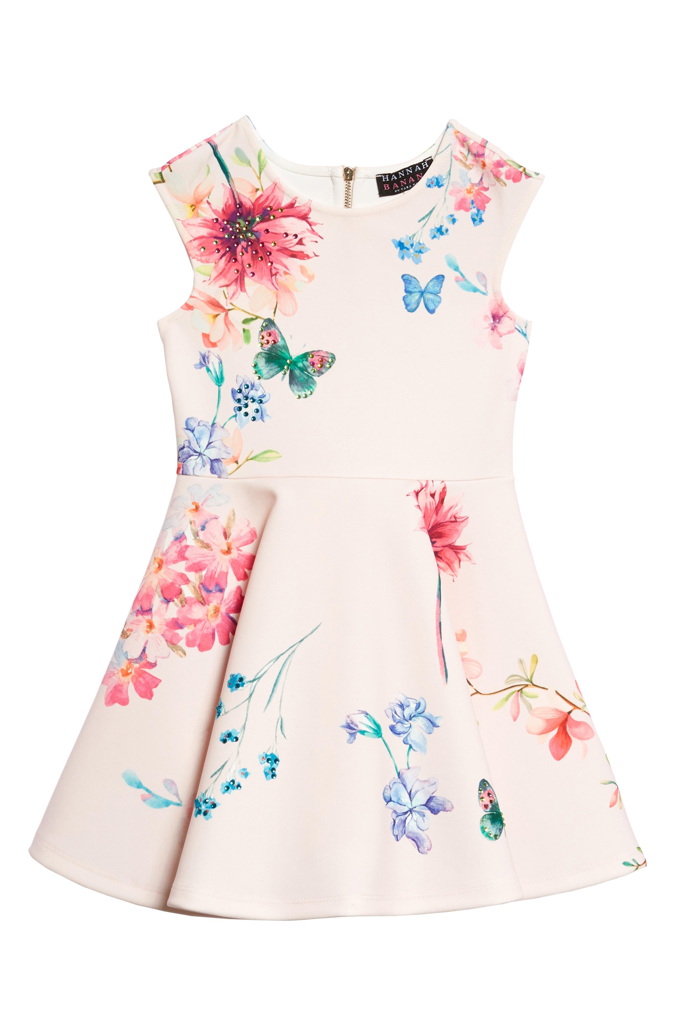 Floral Skater Dress,                         Main,                         color, Pink