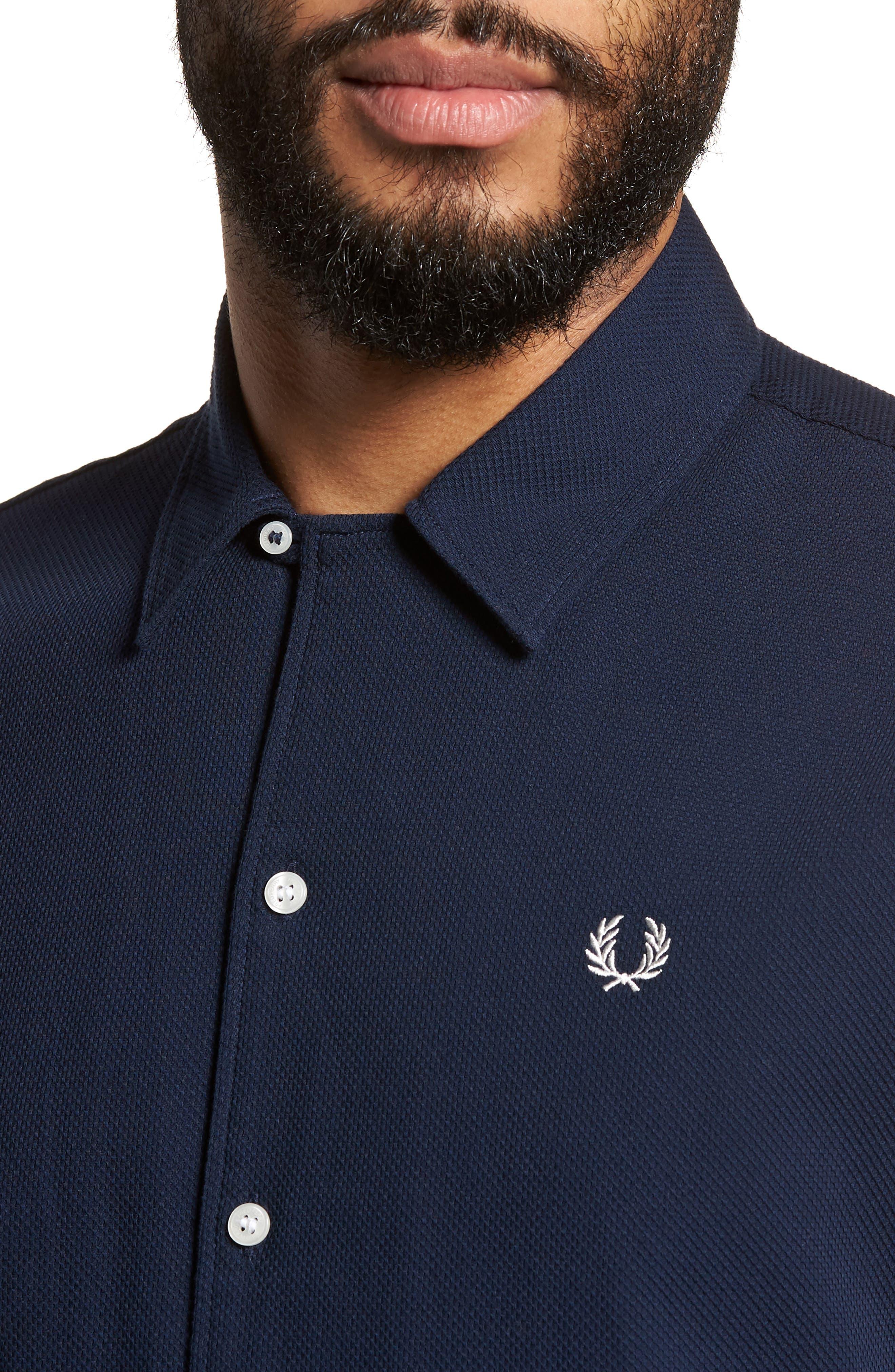 Woven Piqué Shirt,                             Alternate thumbnail 2, color,                             Carbon Blue