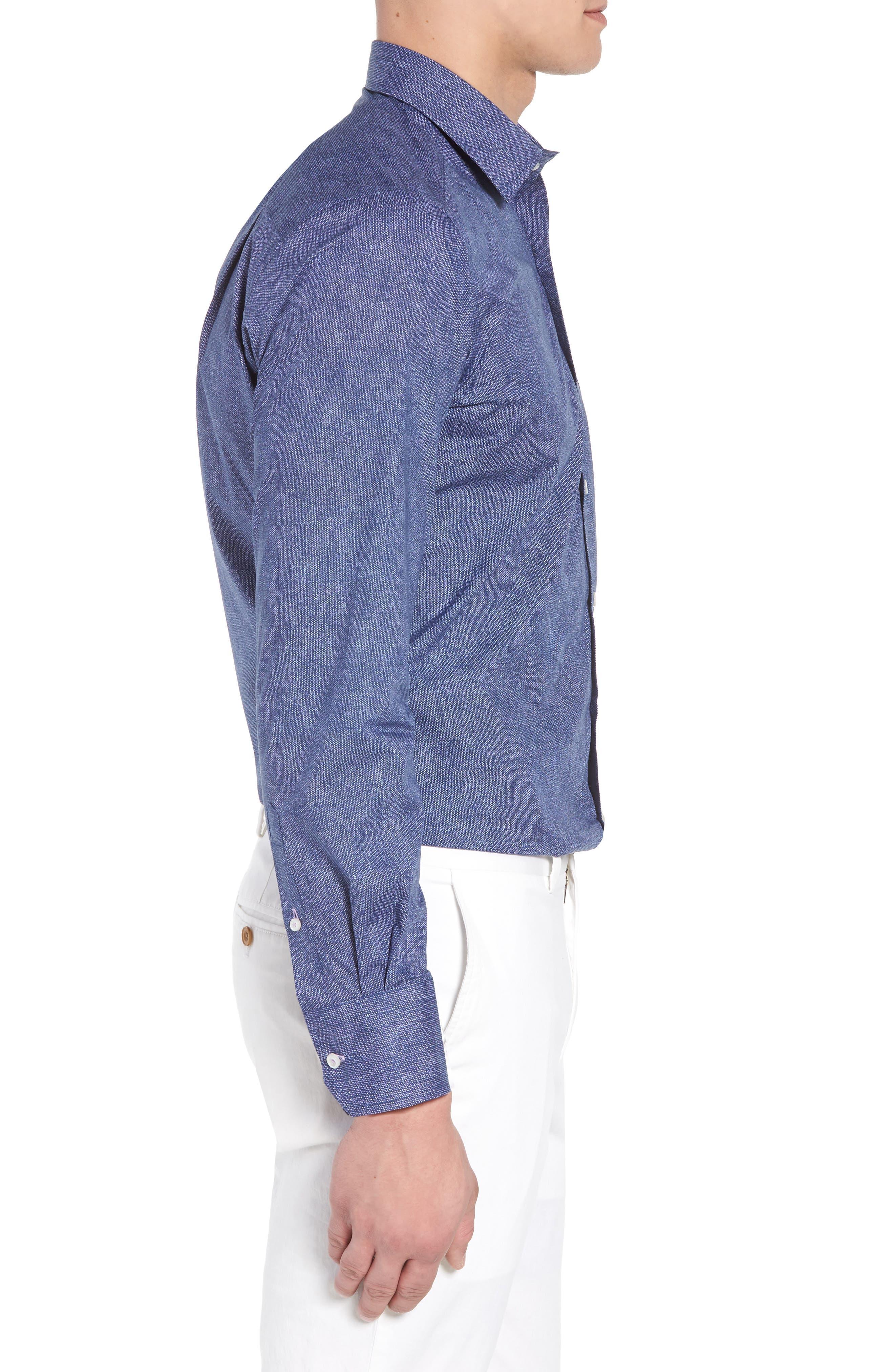 Regular Fit Microprint Sport Shirt,                             Alternate thumbnail 3, color,                             Navy/ Purple