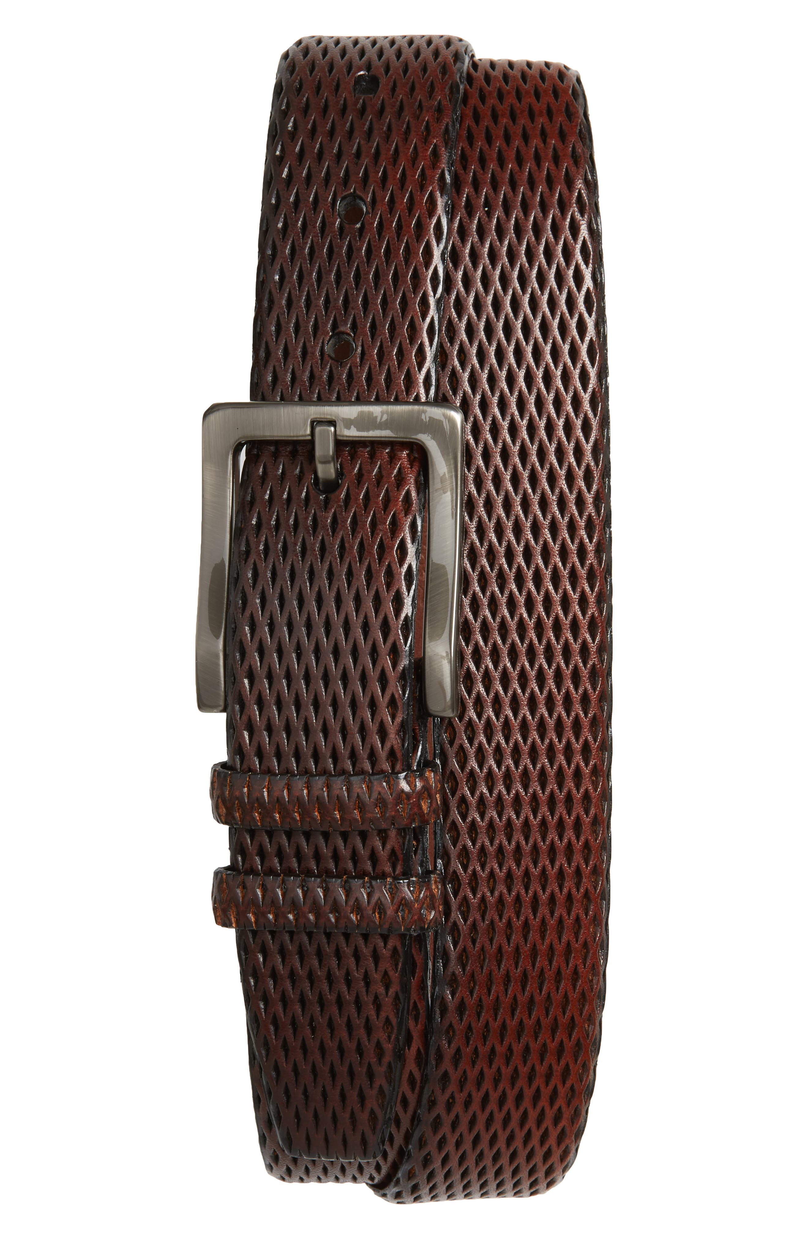 Embossed Leather Belt,                         Main,                         color, Mahogany