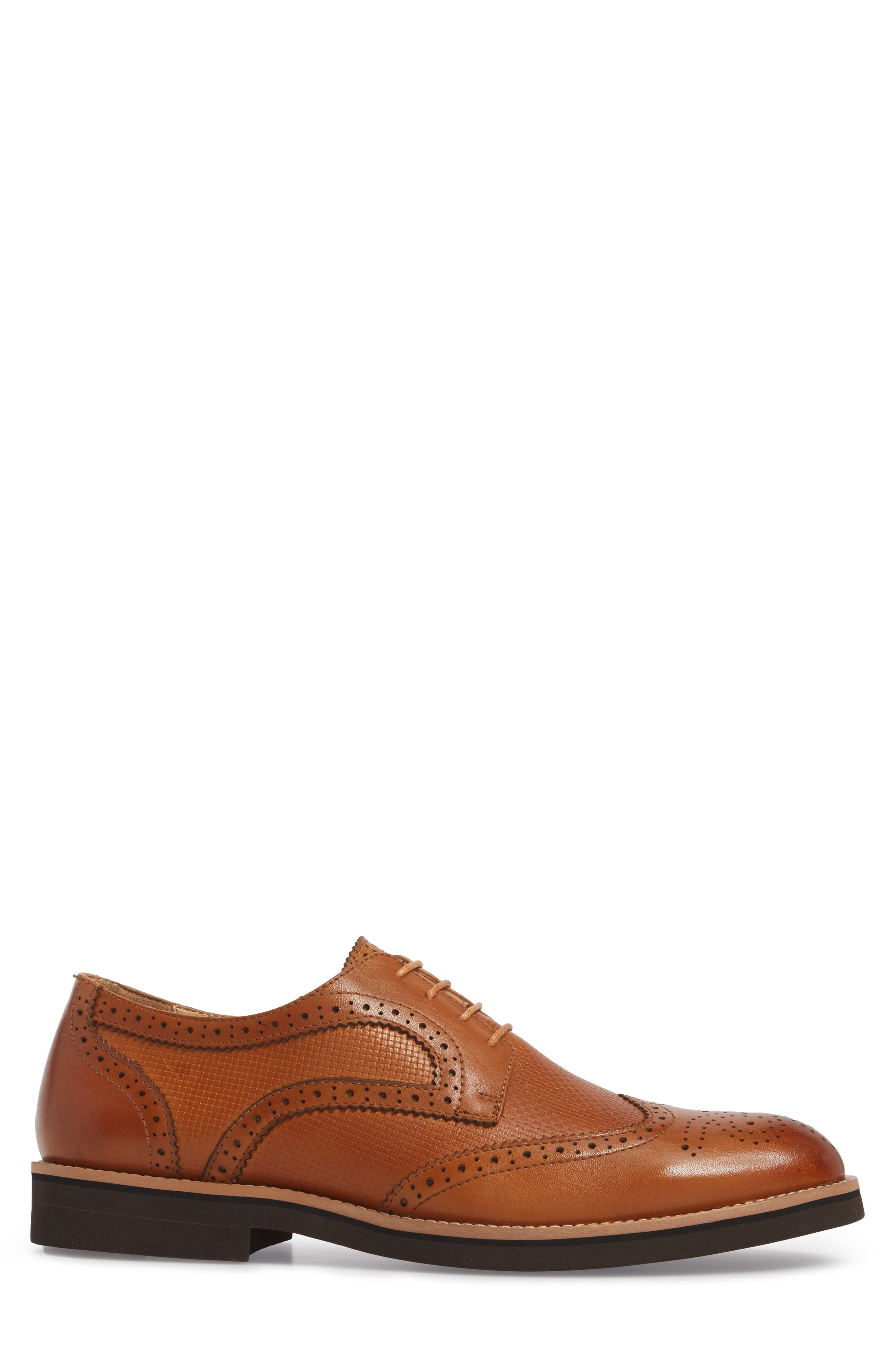 Cleave Embossed Wingtip,                             Alternate thumbnail 3, color,                             Cognac Leather