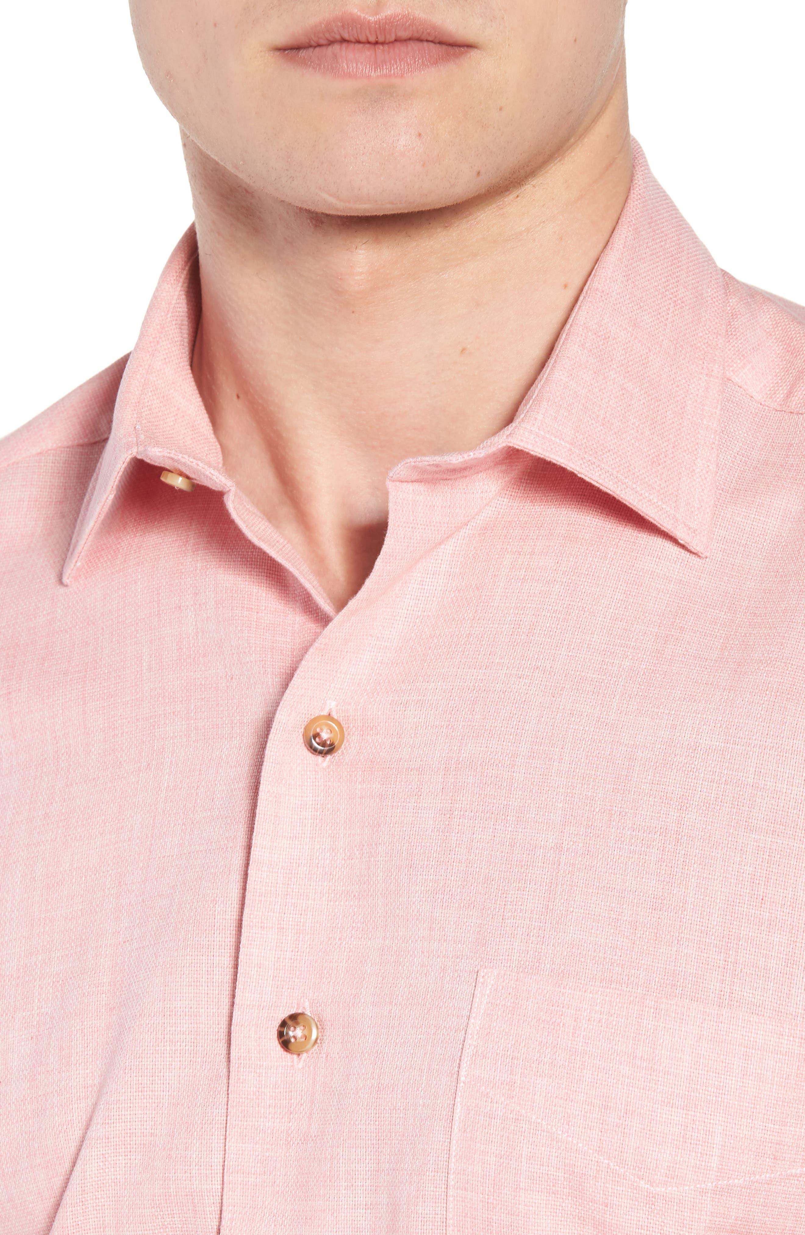 Regular Fit Garment Washed Mélange Sport Shirt,                             Alternate thumbnail 4, color,                             Pink