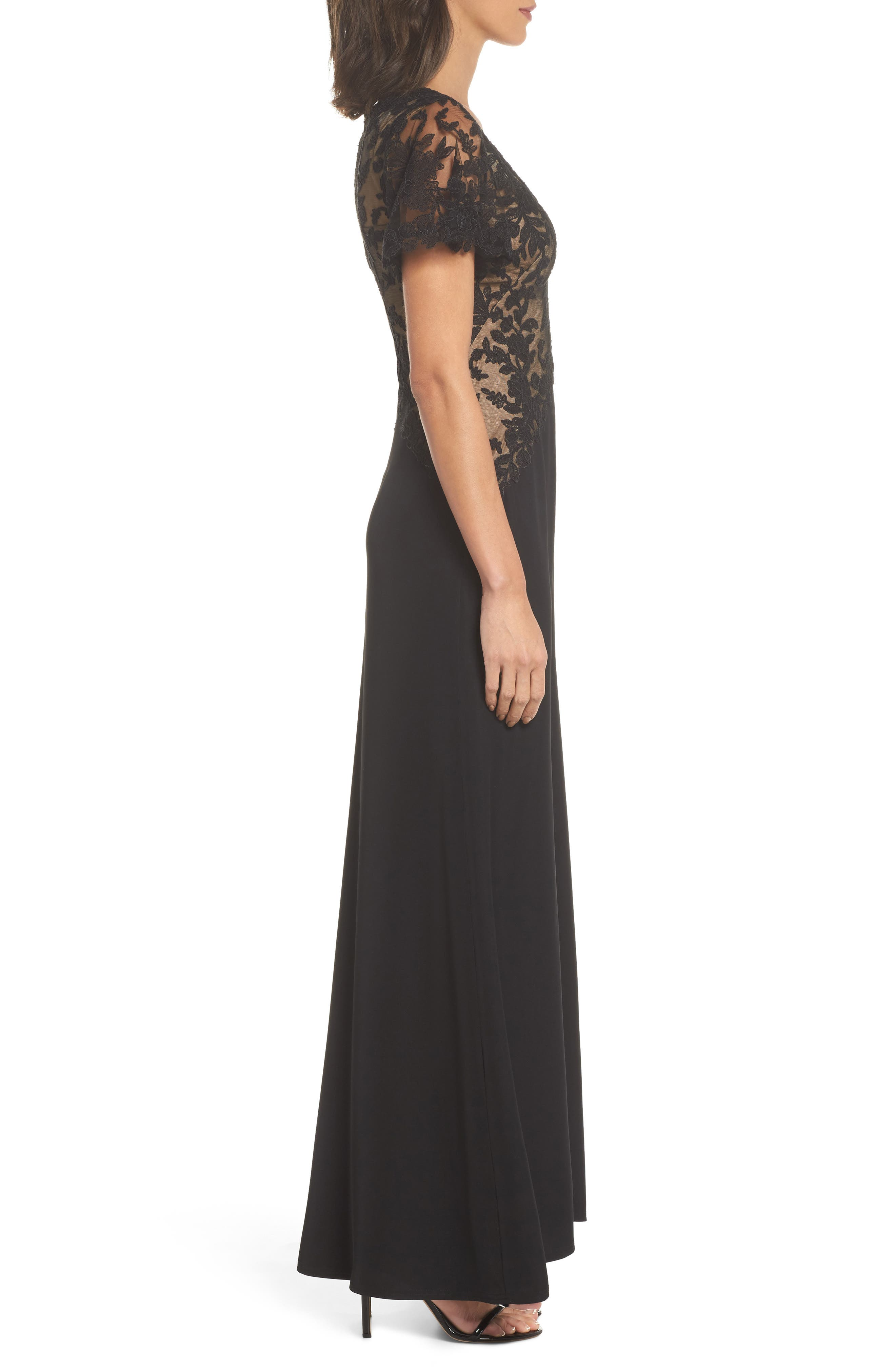 Lace & Crepe Gown,                             Alternate thumbnail 3, color,                             Black Nude