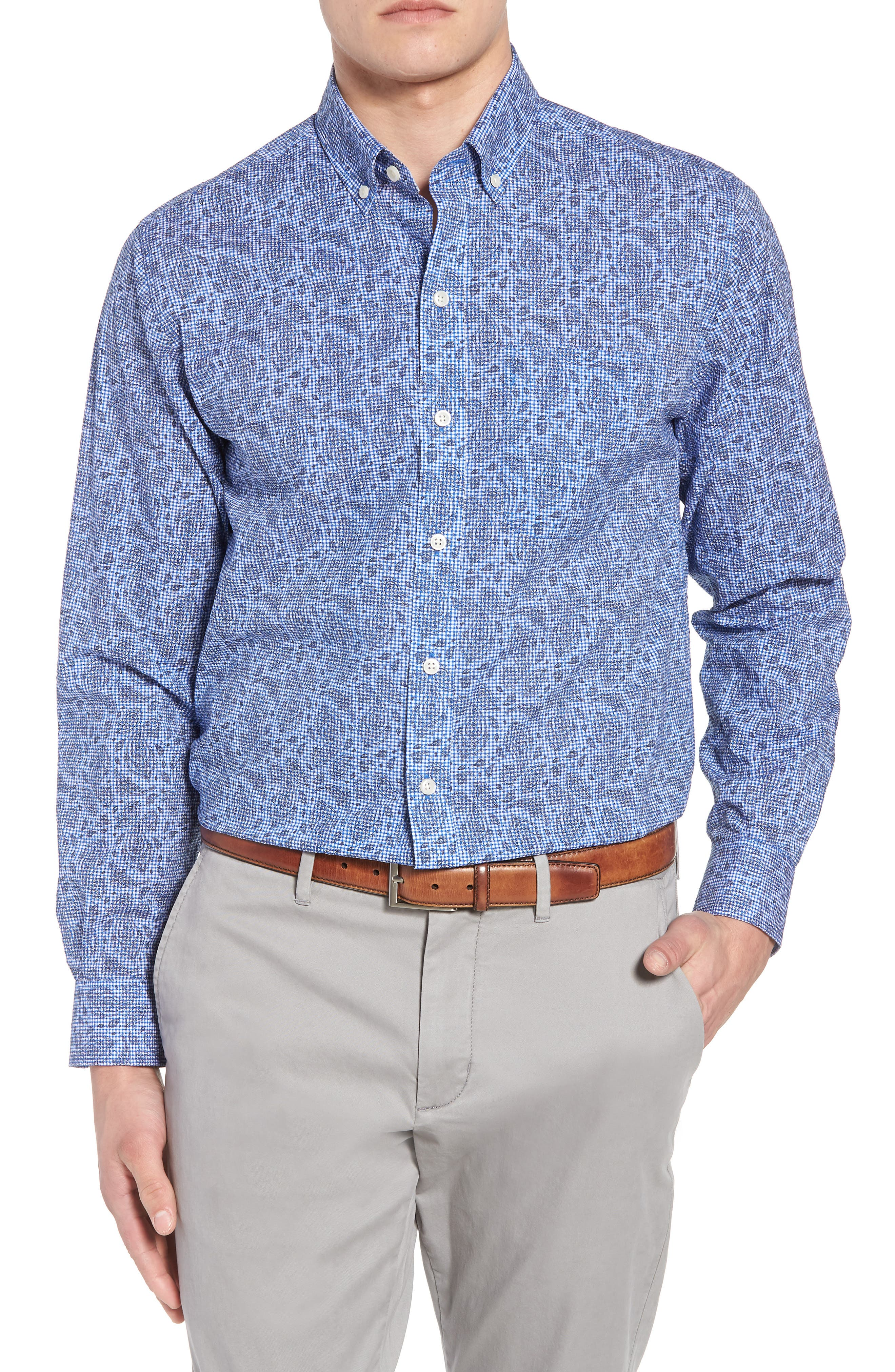 Alternate Image 1 Selected - Cutter & Buck Jameson Seersucker Print Sport Shirt