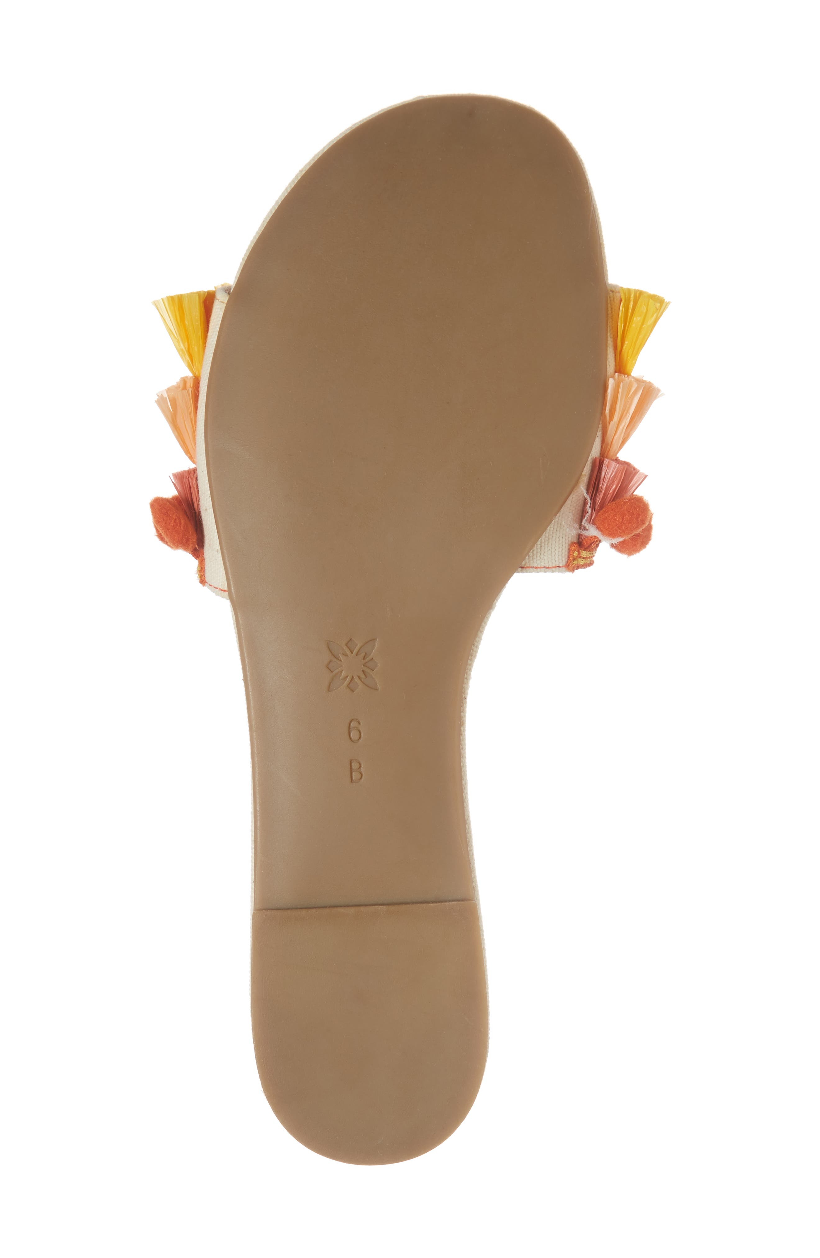 Genna Raffia Tier Slide Sandal,                             Alternate thumbnail 6, color,                             Marigold/ Rust