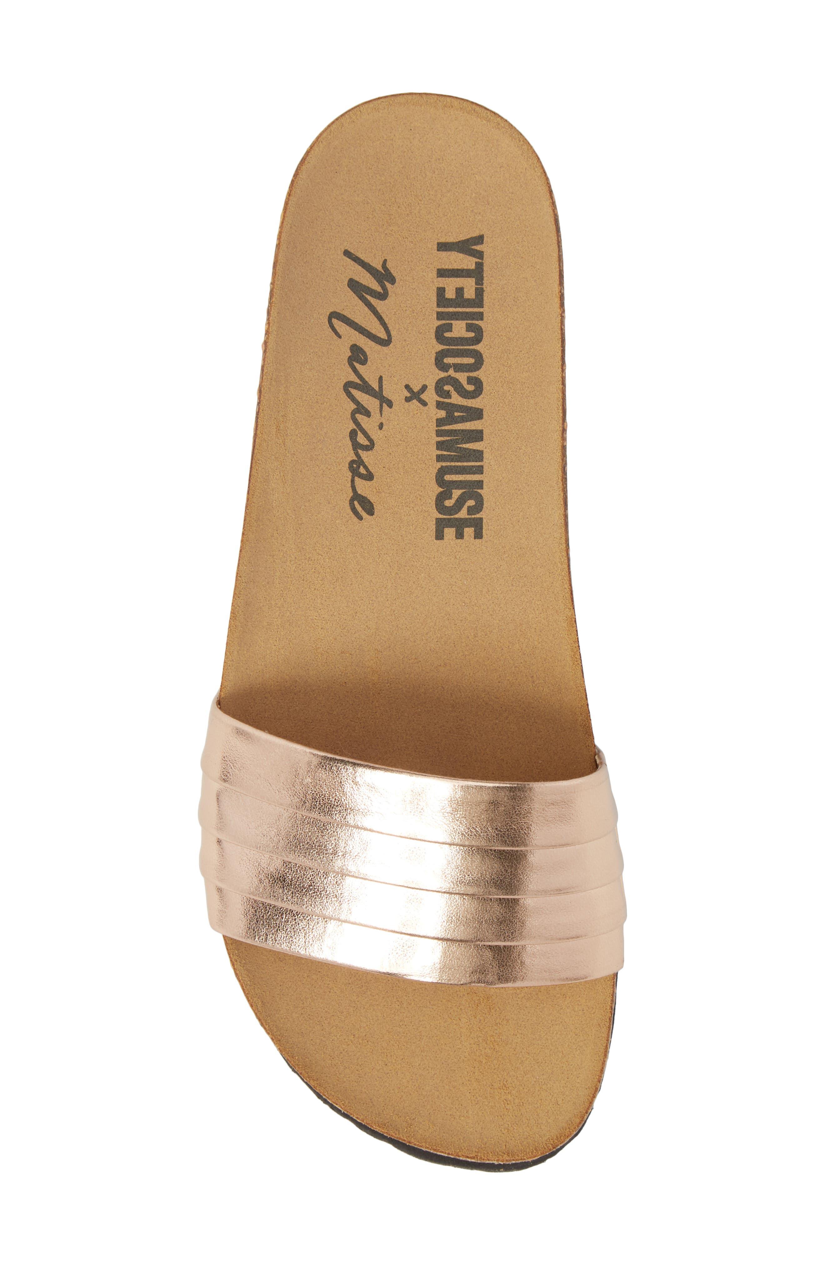 Santos Slide Sandal,                             Alternate thumbnail 5, color,                             Rose Gold Faux Leather